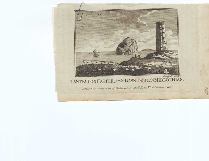[Old Antique Print Tantellon Castle Bass Isle Midlothian Scot 263221 ]