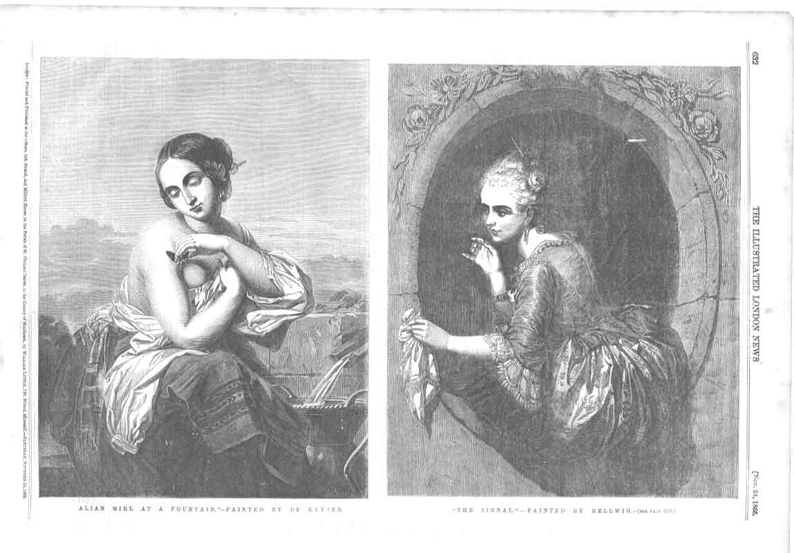 Old Antique Print Girl At Fountain By Keyser Signal By Hellwig 6A3AA376