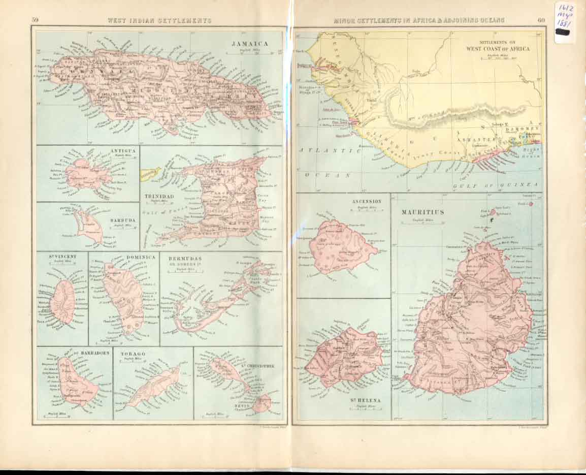 [Old Antique Print Ref.1 Map 1881 Bartholomew West Indian Settlements 90a4491 ]