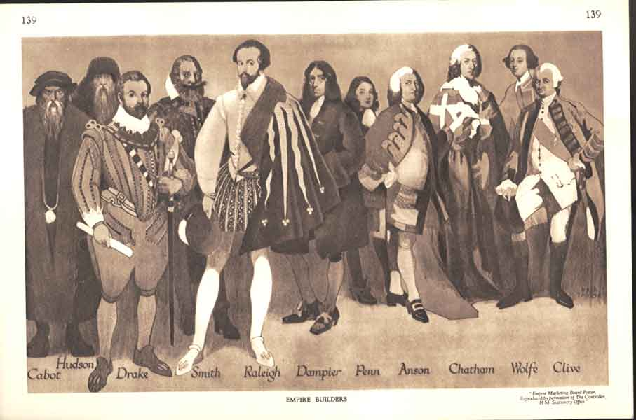 [Antique Print Empire Builders Cabot Drake Smith Penn Anson Wolfe Cliv 139A470 ]