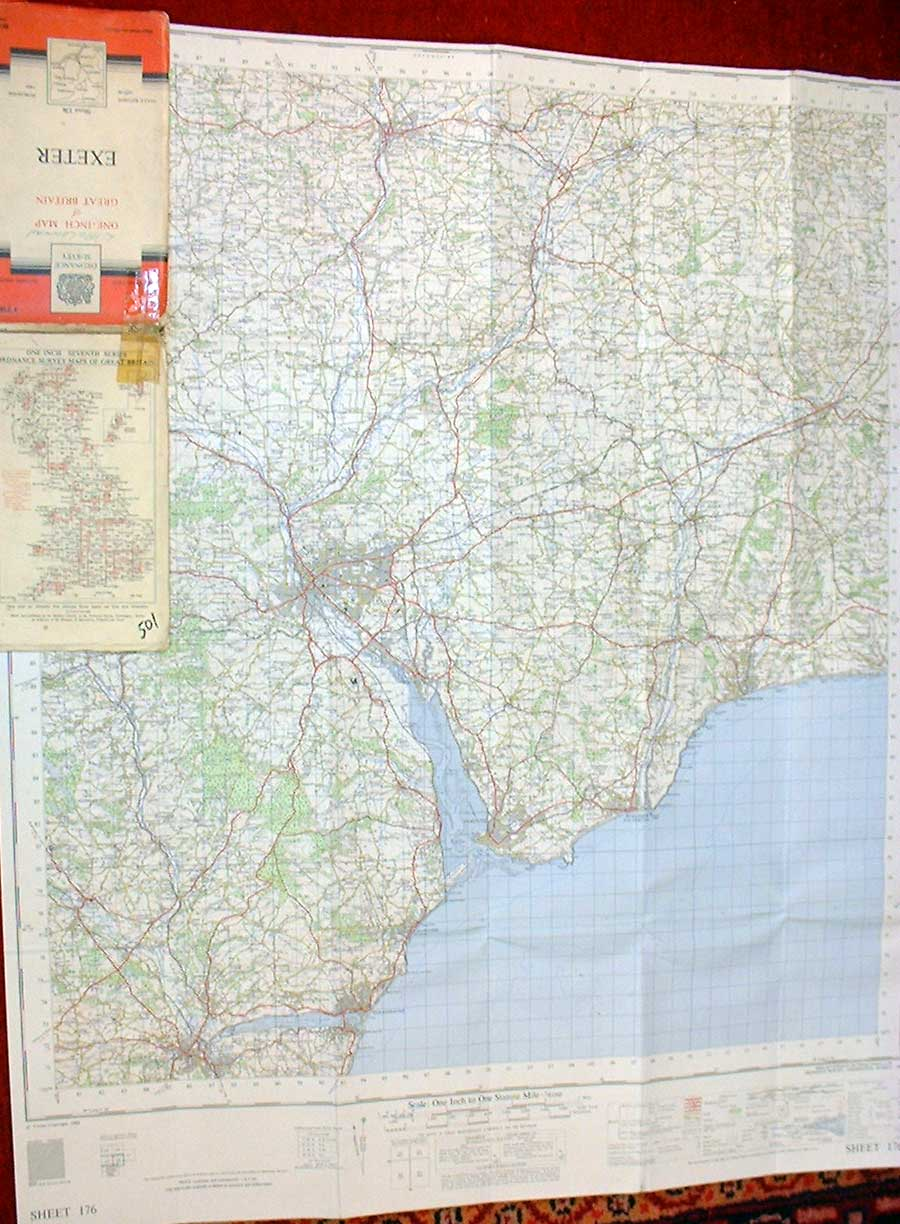 [Vintage Print Exeter One Inch Canvas Back Map 1960 015281 ]