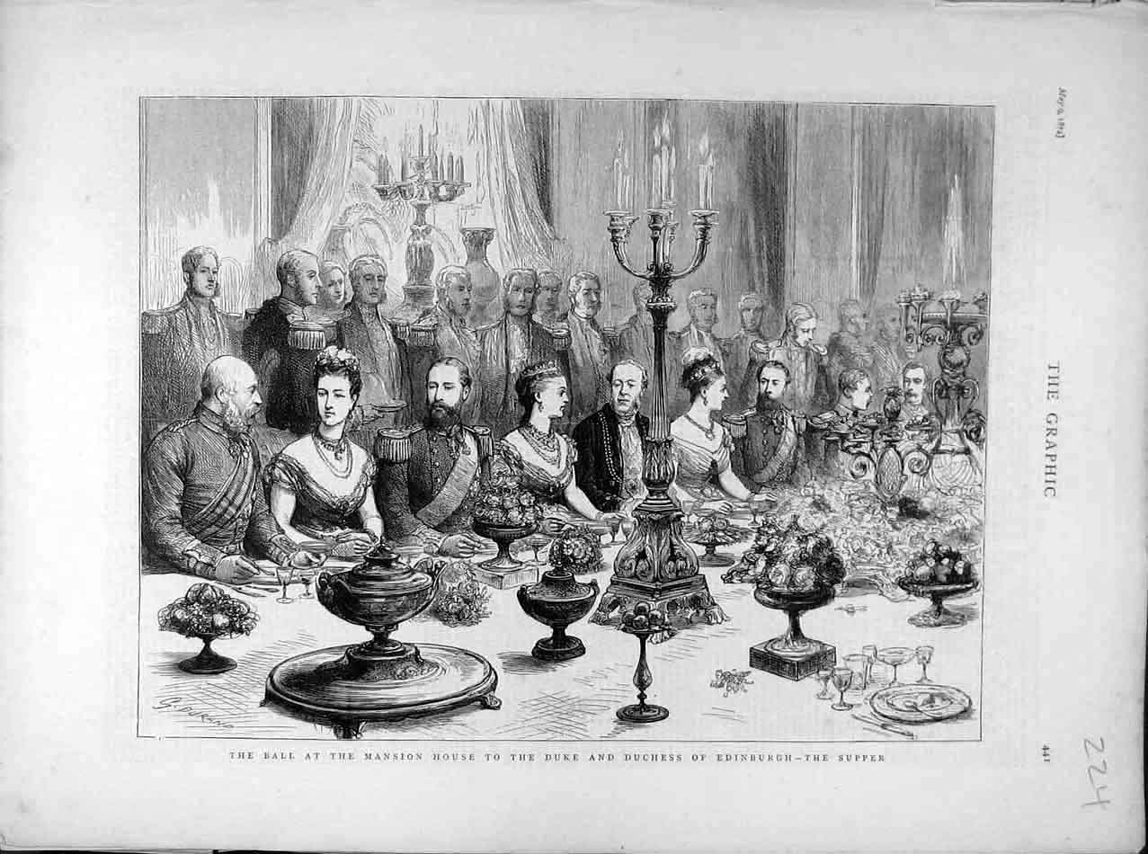 Antique Print 1874 Duke Duchess Edinburgh Supper Mansion House Ball 248041