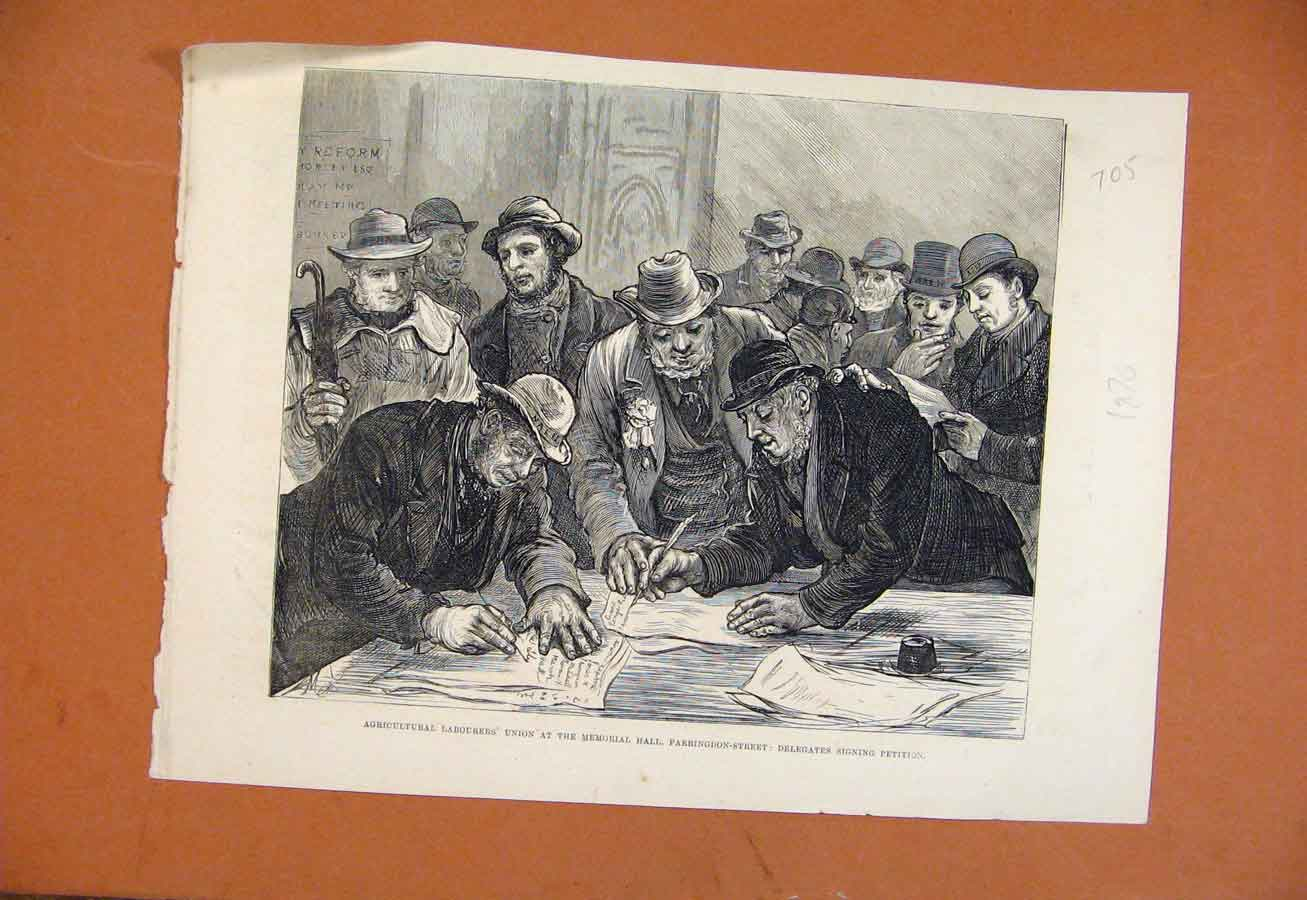 Old Antique Print Agricultural Labourers Union Memorial Hall C1876 058270