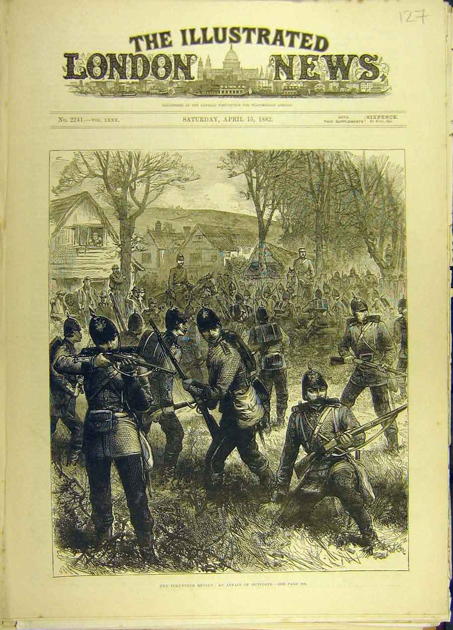 Original-Old-Antique-Print-1882-Volunteer-Review-Affair-Outposts-Military-19th