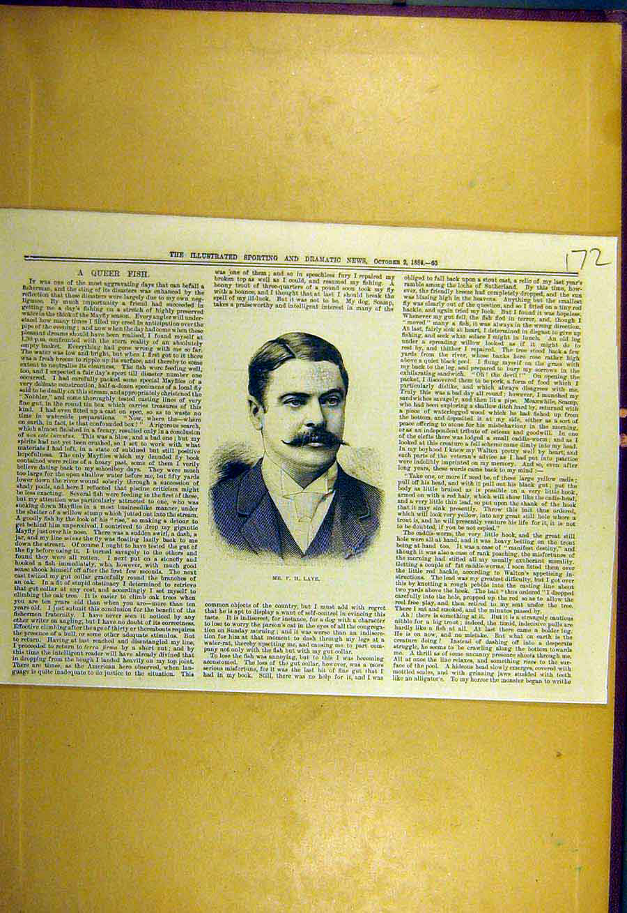 [Old Antique Print 1886 Portrait Laye Angler Sporting Dramatic News 728731 ]