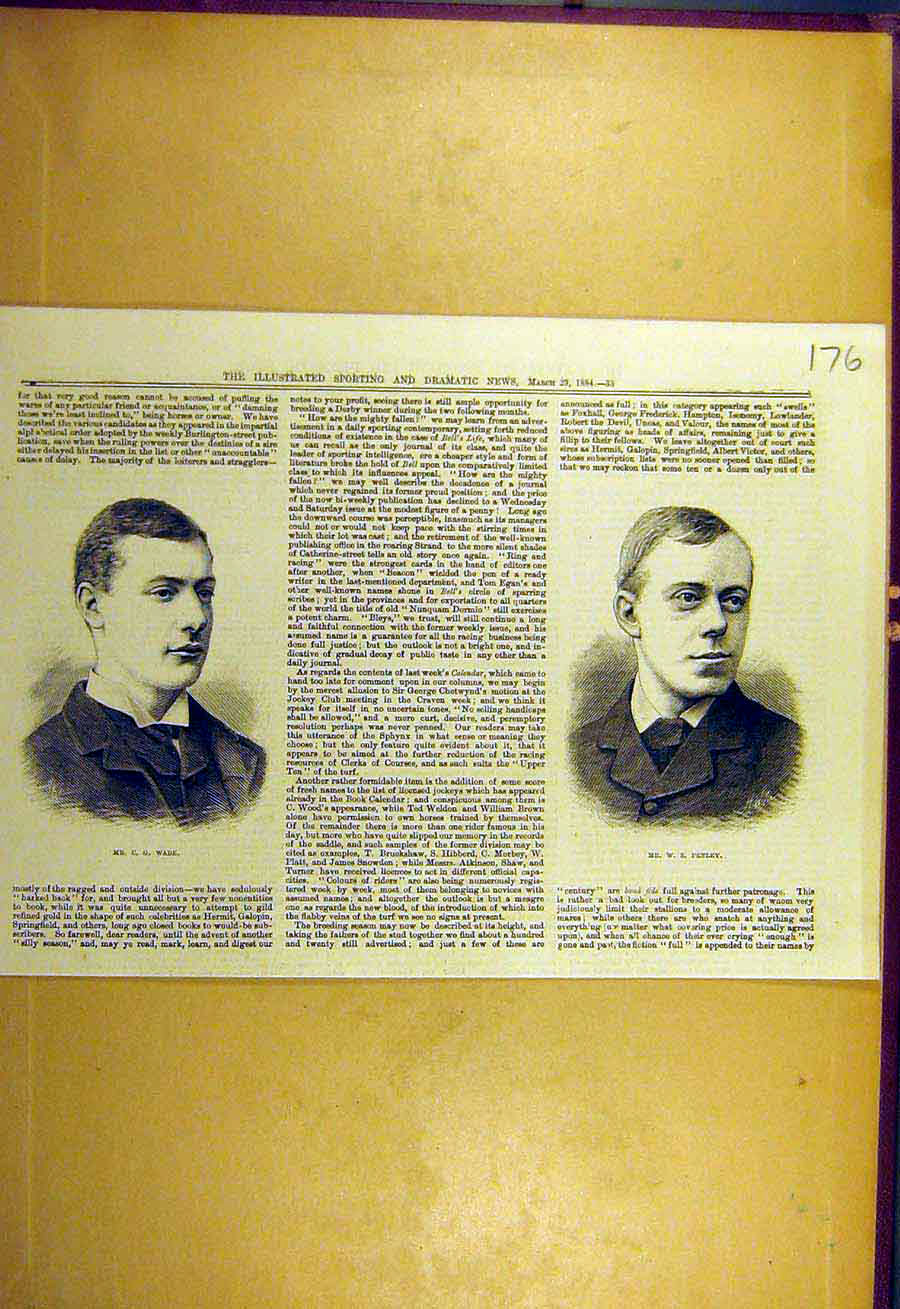 [Old Antique Print 1884 Portrait Wade Penley Sporting Dramatic News 768731 ]