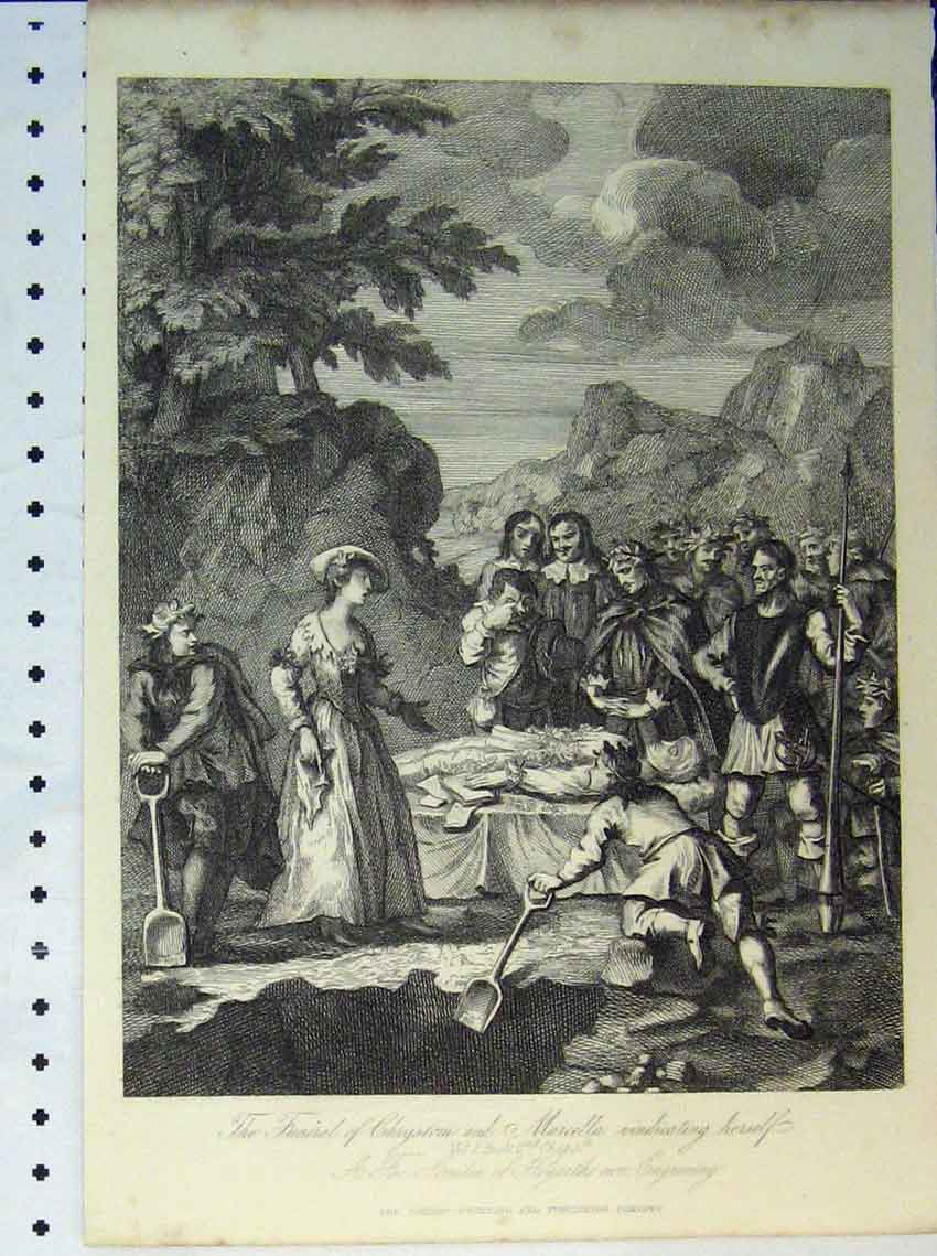 Original-Old-Antique-Print-Funeral-Chrystom-Marcella-Country-Scene-Engraving