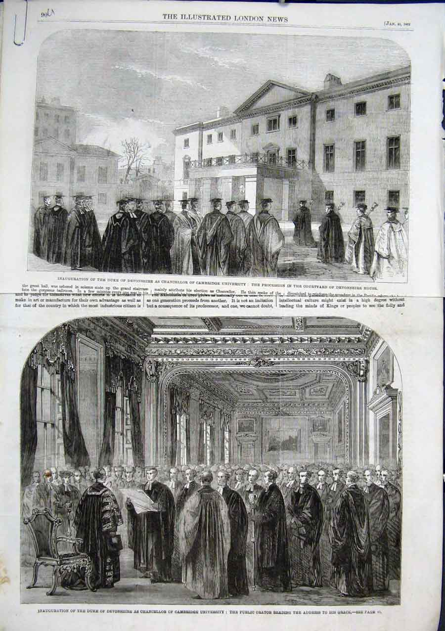 Old Print Inauguration Duke Devonshire Chancellor Cambridge Unive 90ABAAA0