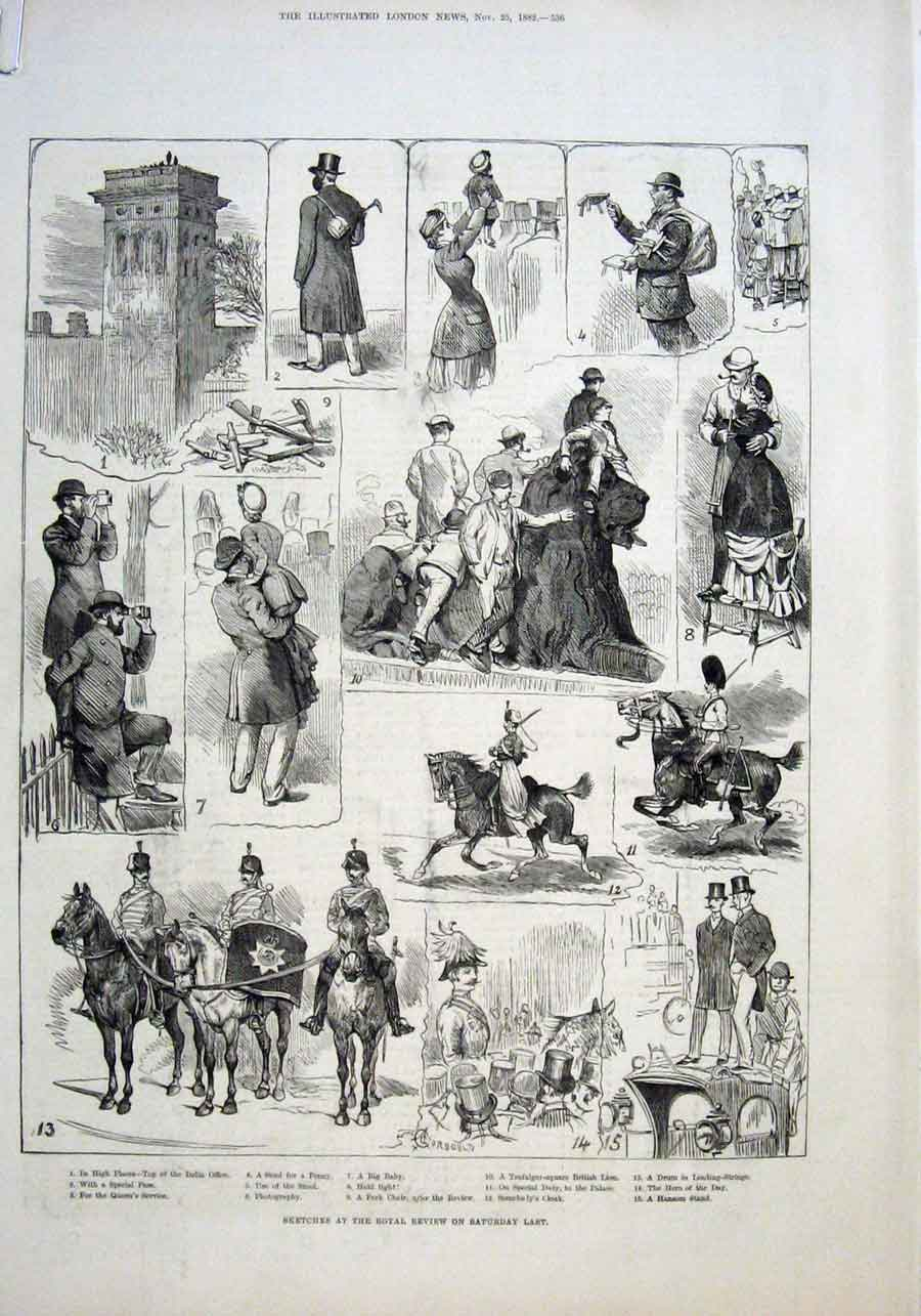 Old Antique Print Royal Review Troops From Egypt 1882 36AAAA1