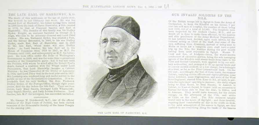 Old Antique Print Portrait The Late Earl Harrowby 1882 60UAAA1