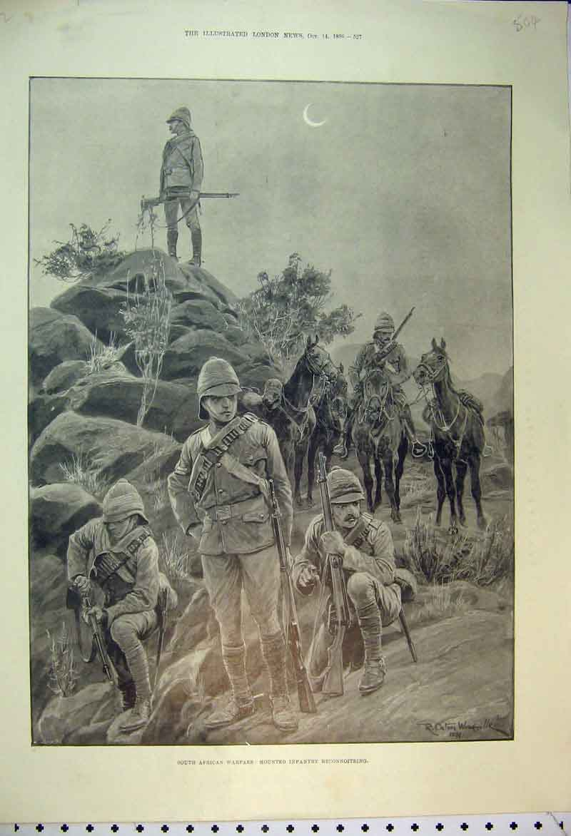 Original-Old-Antique-Print-South-African-Warfare-1899-Mounted-Infantry-Resting