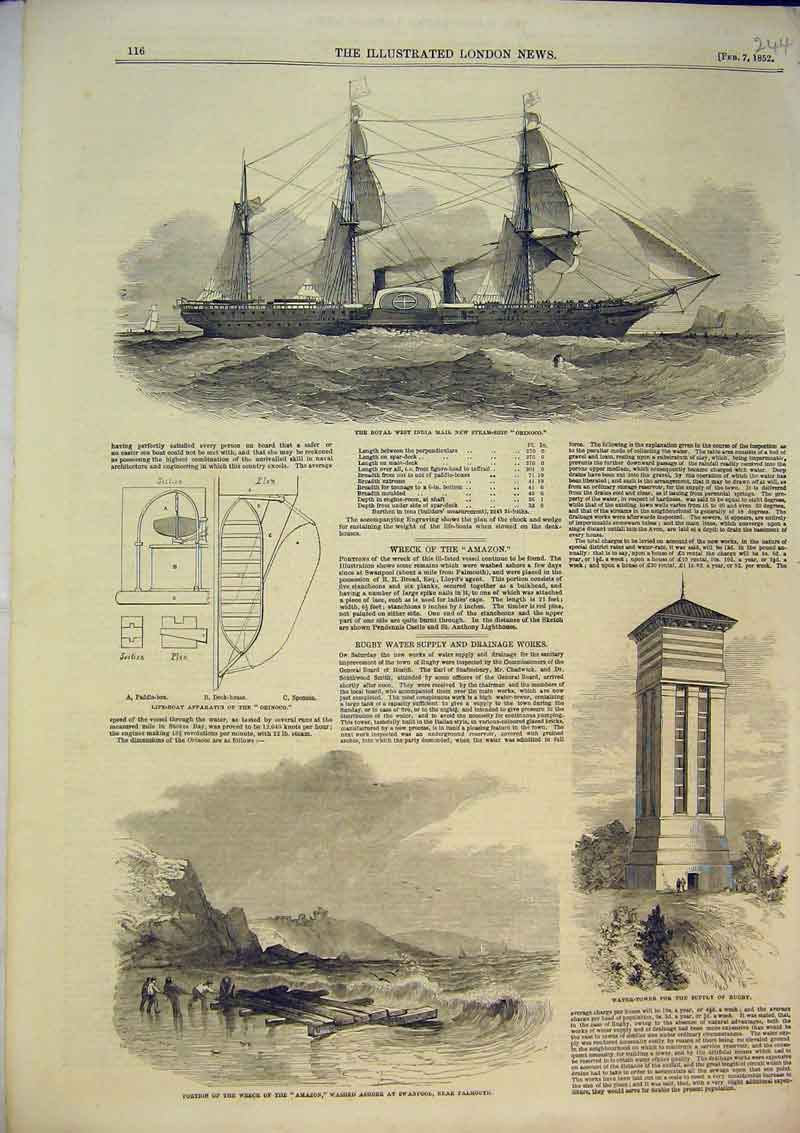 Original-Old-Antique-Print-1852-Wreck-Amazon-Falmouth-Ship-Tower-Rugby-Orinoco