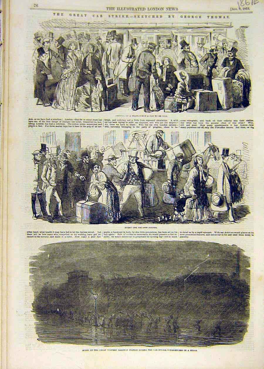 Old-Antique-Print-1853-Cab-Strike-Sketches-Thomas-Station-Omnibus-People-19th