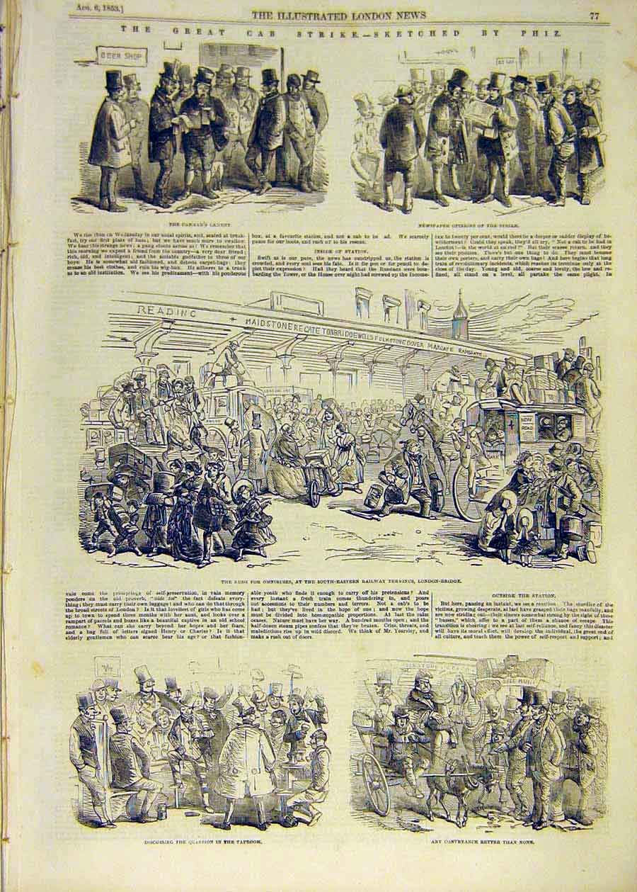 Old-Antique-Print-1853-Cab-Strike-Sketches-Thomas-Station-Omnibus-People-19th thumbnail 2