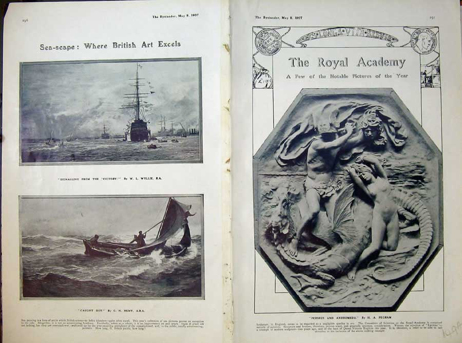 Old-Antique-Print-1907-Royal-Academy-Perseus-Nude-Paintings-Harp-Romance-20th thumbnail 2