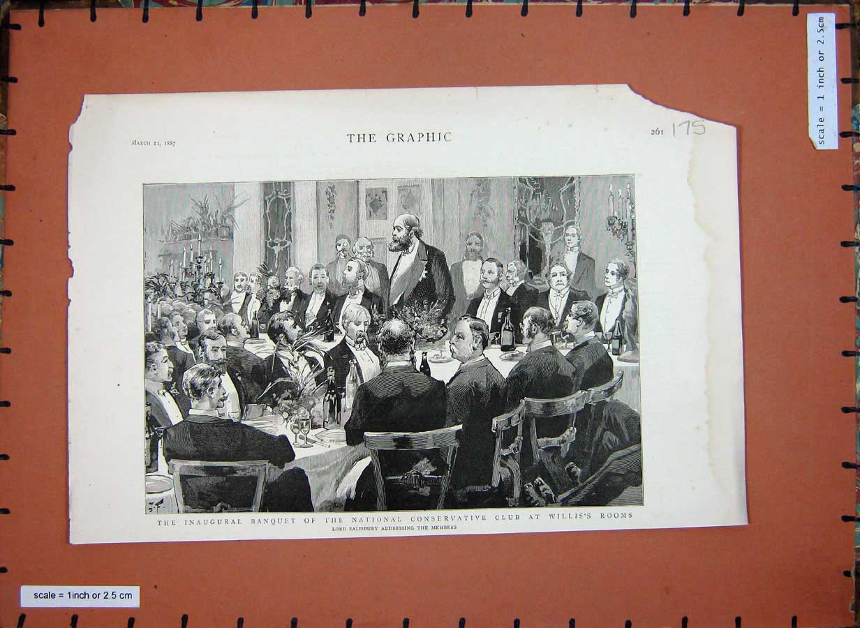Old-Antique-Print-1887-Inaugural-Banquet-Conservative-Club-Willis-Rooms-19th