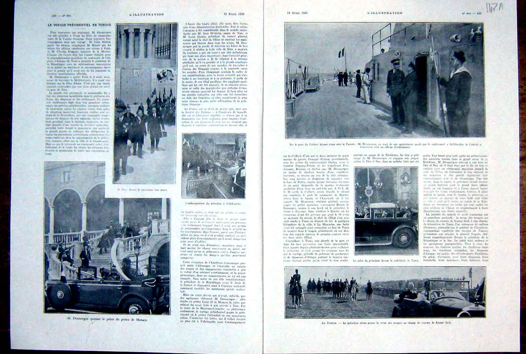 Original-Old-Vintage-Print-Monaco-Doumergue-Tunisia-President-French-1931-20th