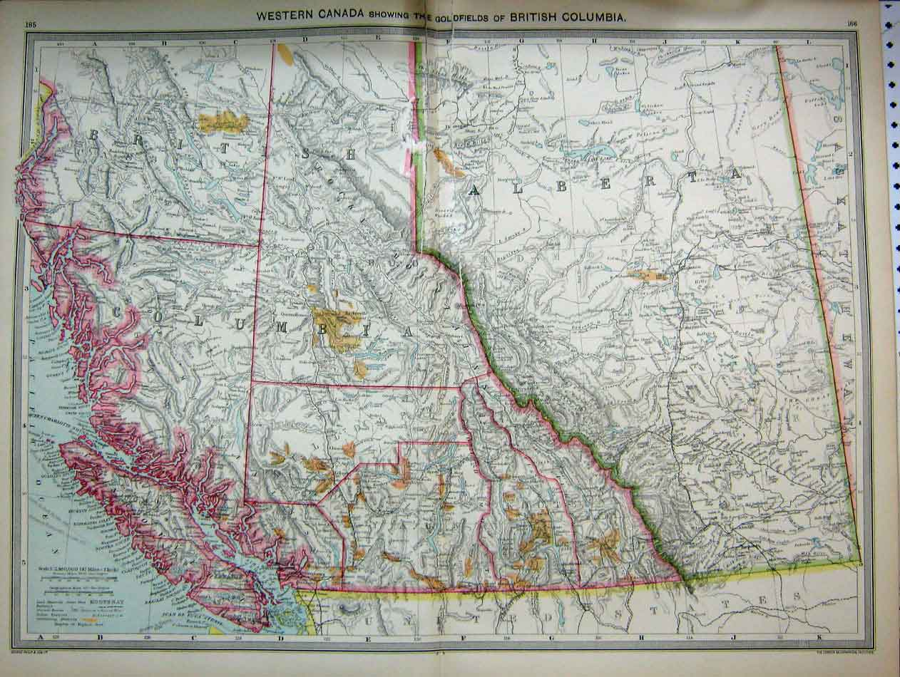 Original-Old-Antique-Print-Map-C1890-Canada-Alberta-Gfields-America-Florida