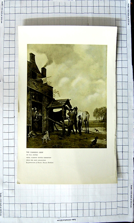 Original-Old-Antique-Print-Farriers-Shop-Horses-Chickens-Dogs-Paul-Potter