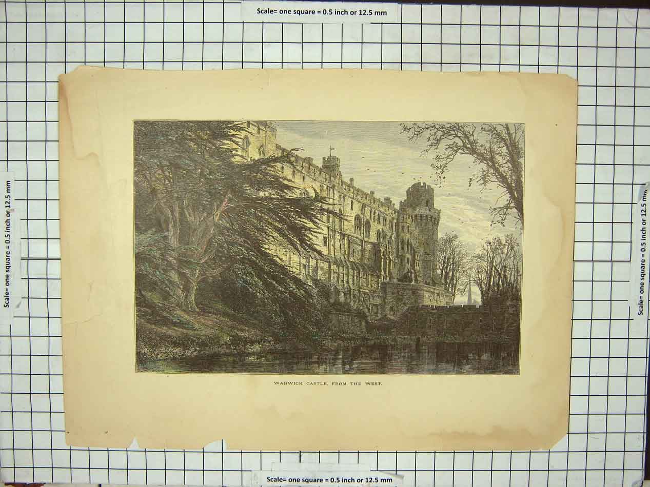 Original-Old-Antique-Print-Warwick-Castle-From-The-West-Trees-19th