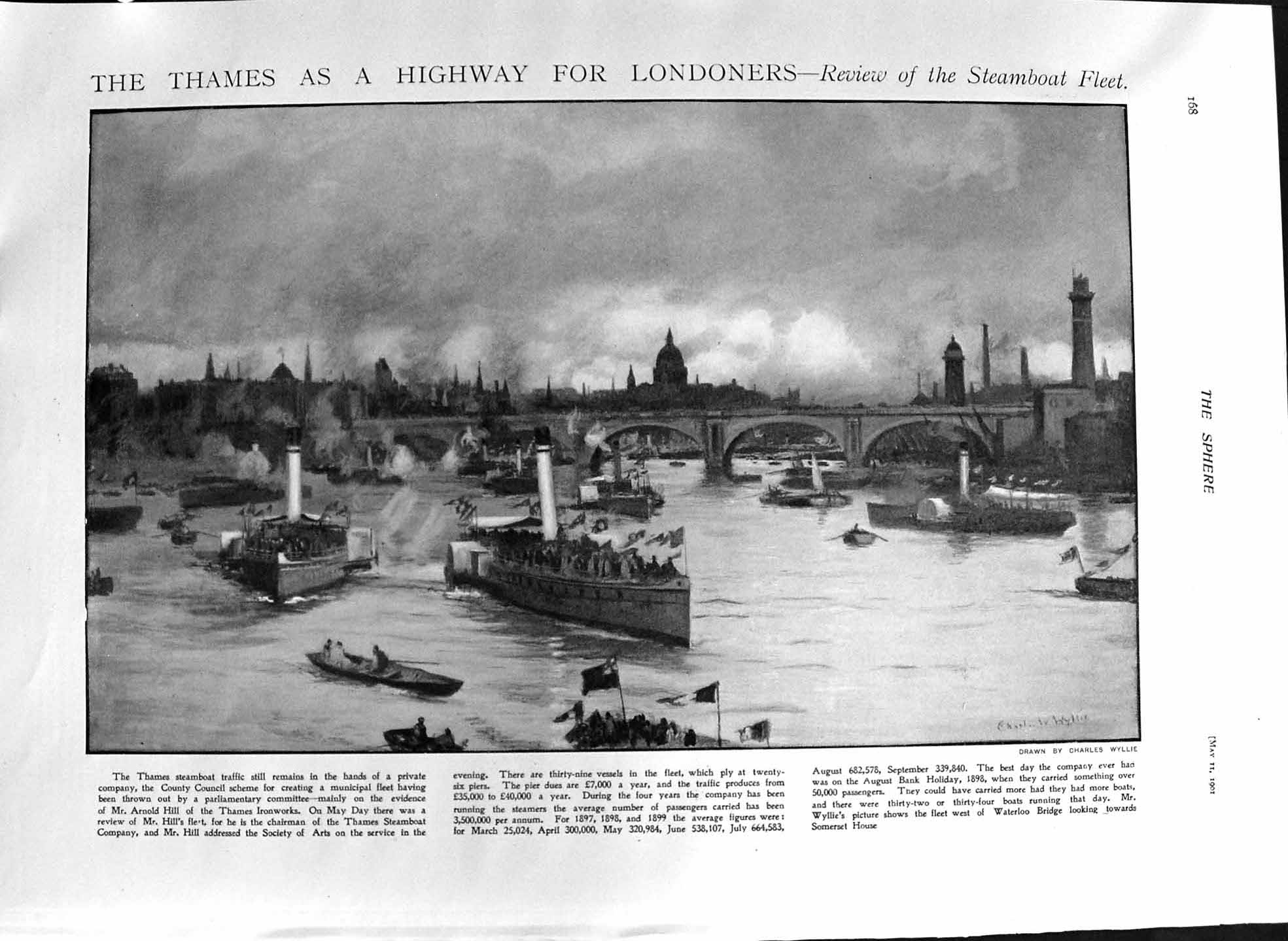 Old-Antique-Print-1901-River-Thames-Steamboat-Traffic-Covent-Garden-Opera-20th