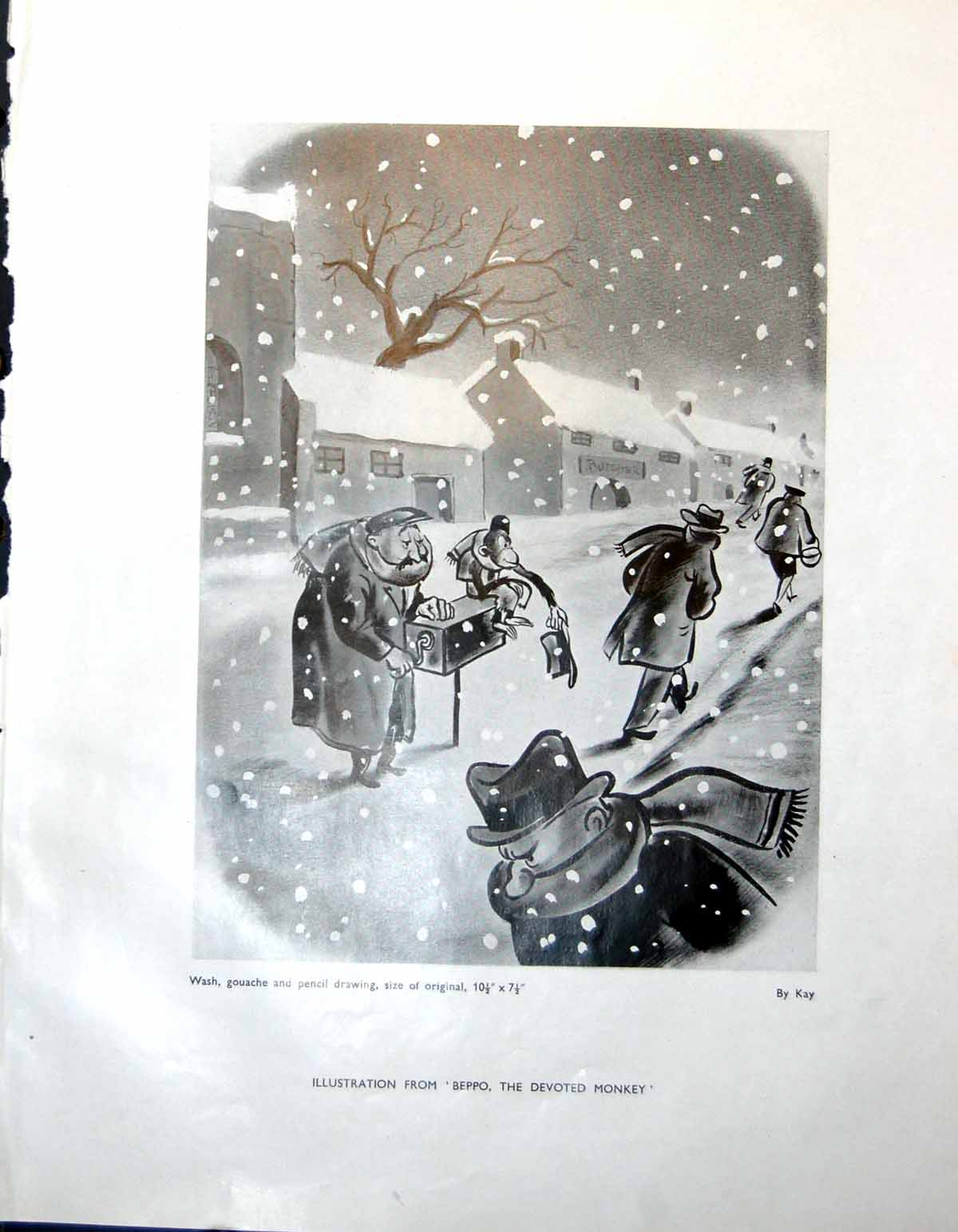 Old-Vintage-Print-Illustration-Beppo-Kay-Monkey-Street-Scenes-Snow-1947-20th