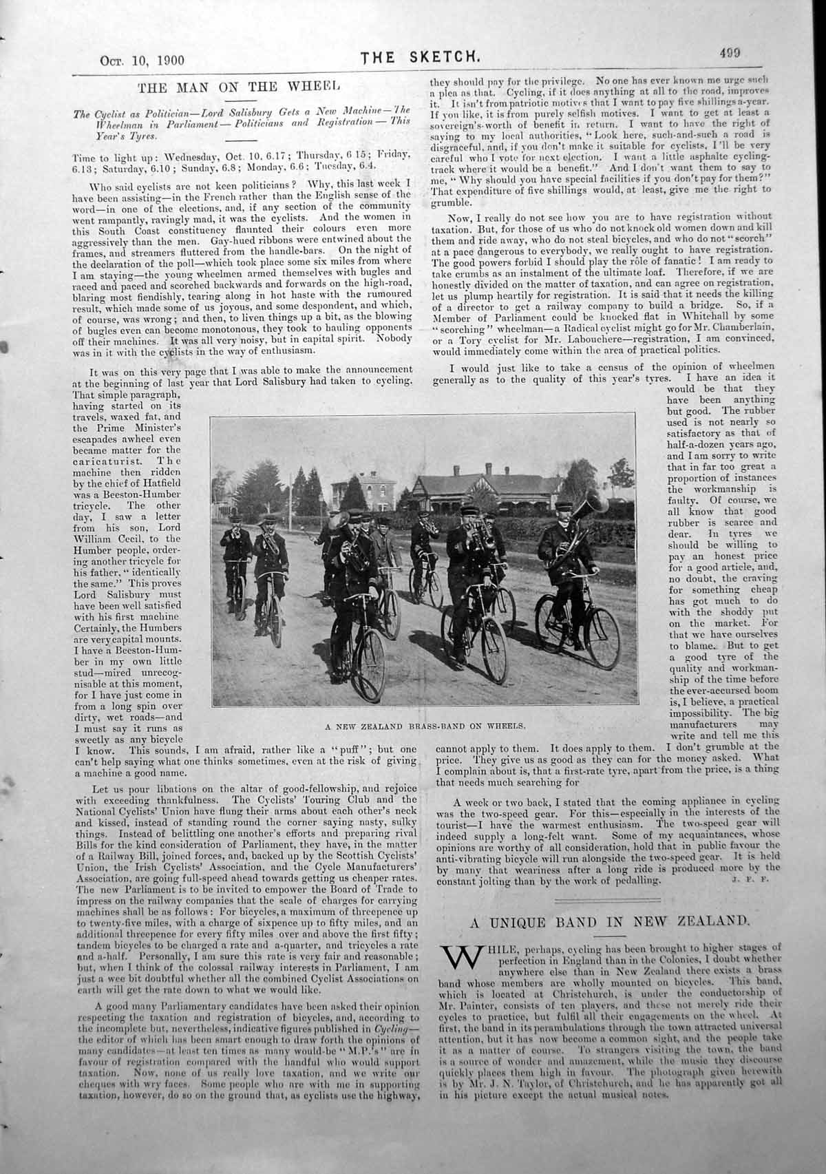 Antique-Print-New-Zealand-Brass-Band-On-Wheels-Cycling-American-Consul-1900