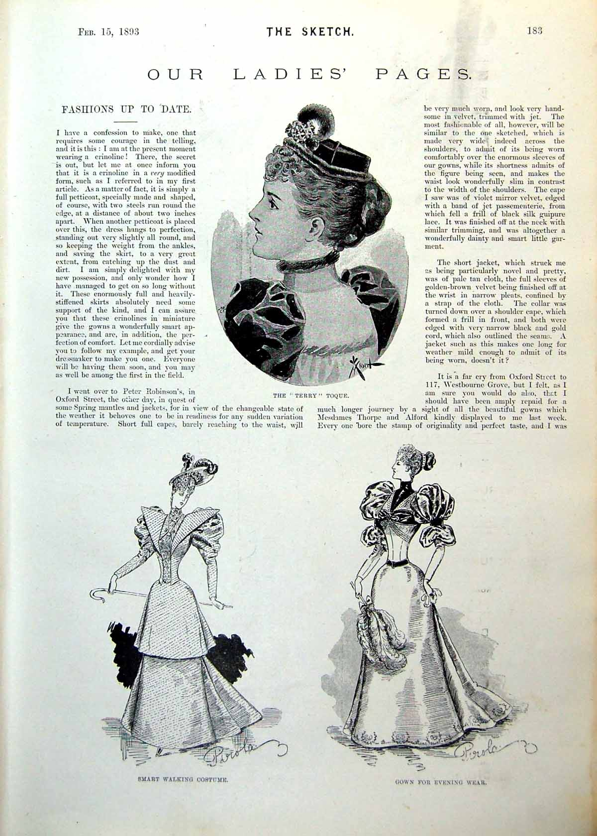 Old-Antique-Print-Ladies-Page-Terry-Toque-Walking-Costume-Hats-Cape-1893-19th