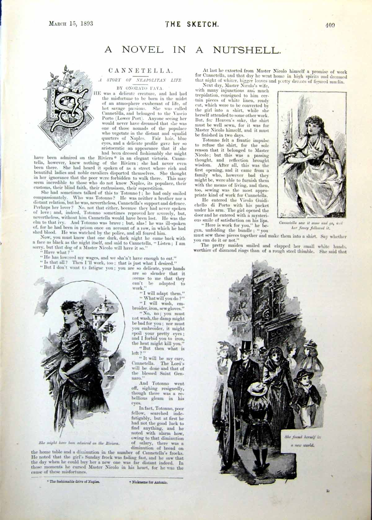 Antique-Old-Print-Cannetella-Novel-Scenes-Pretty-Maiden-Kissed-Upset-1893-19th