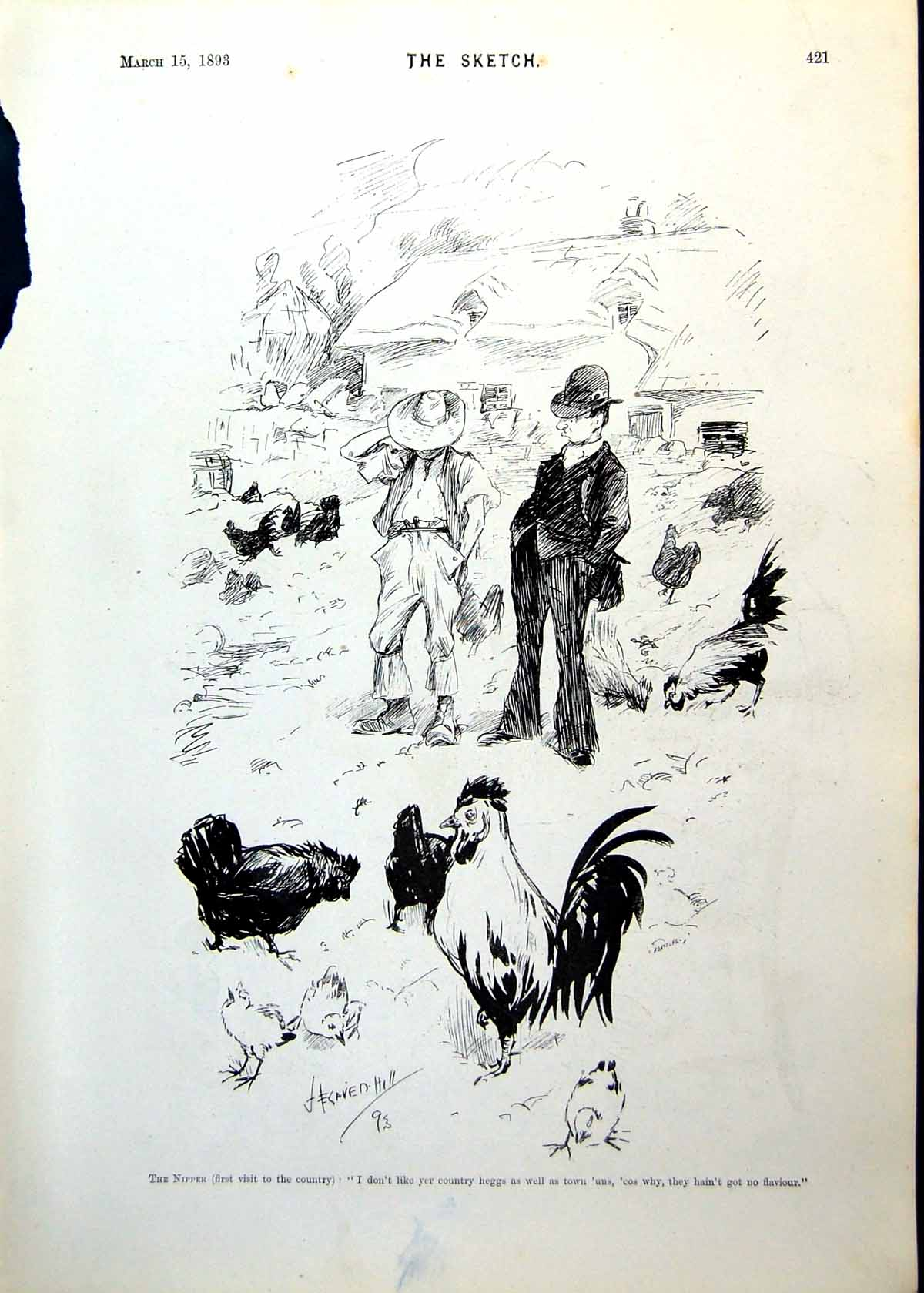 Antique-Old-Print-Boy-Visiting-Farm-Poultry-Mighty-Hunter-Rhinoceros-1893-19th
