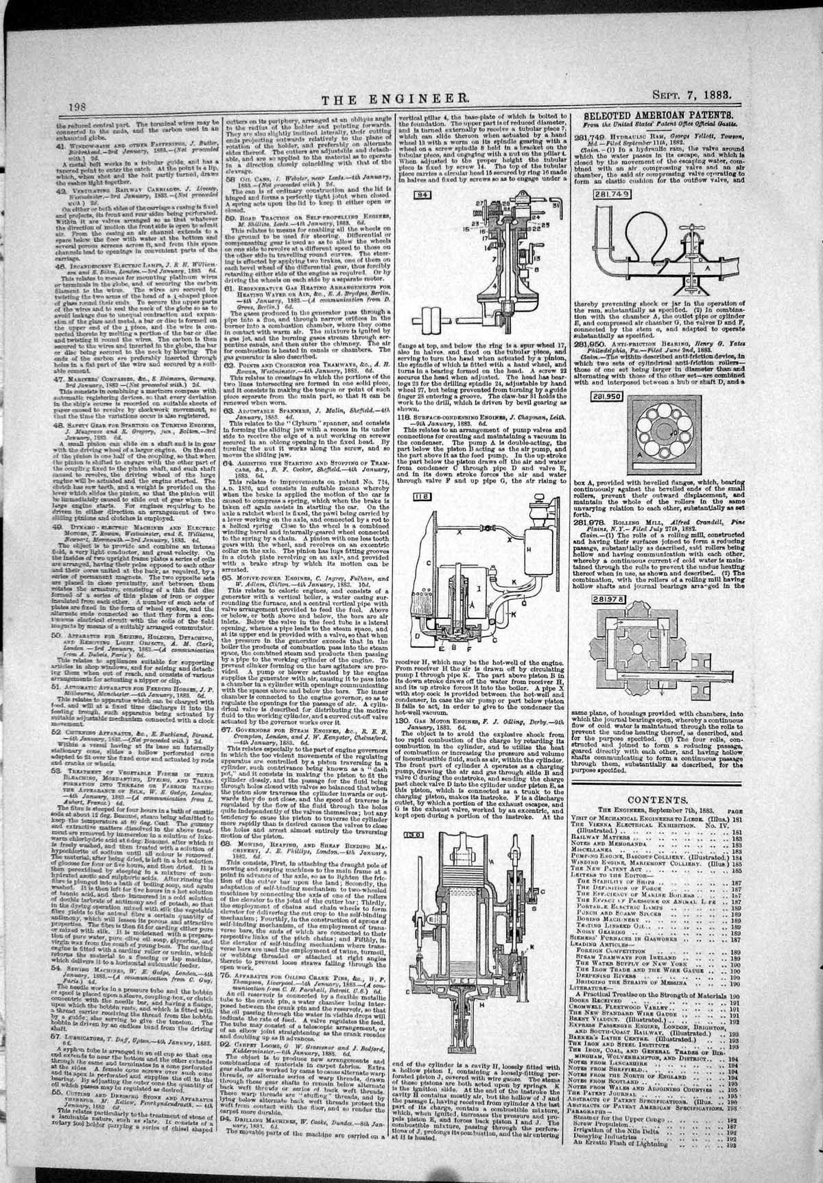 Old-Print-1883-American-Patents-Grosvenor-Chapman-Gas-Motor-Engine-Odling-19th