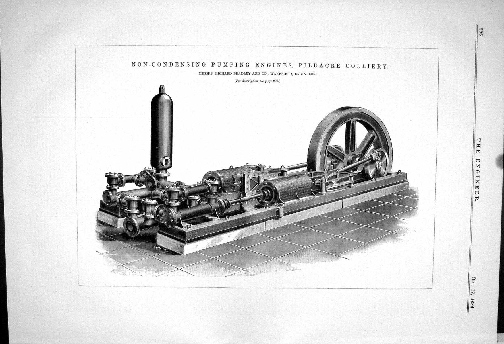 [Print Non-Condensing Pumping Engines Pildacre Colliery 1883 Bradley 296J058 ]