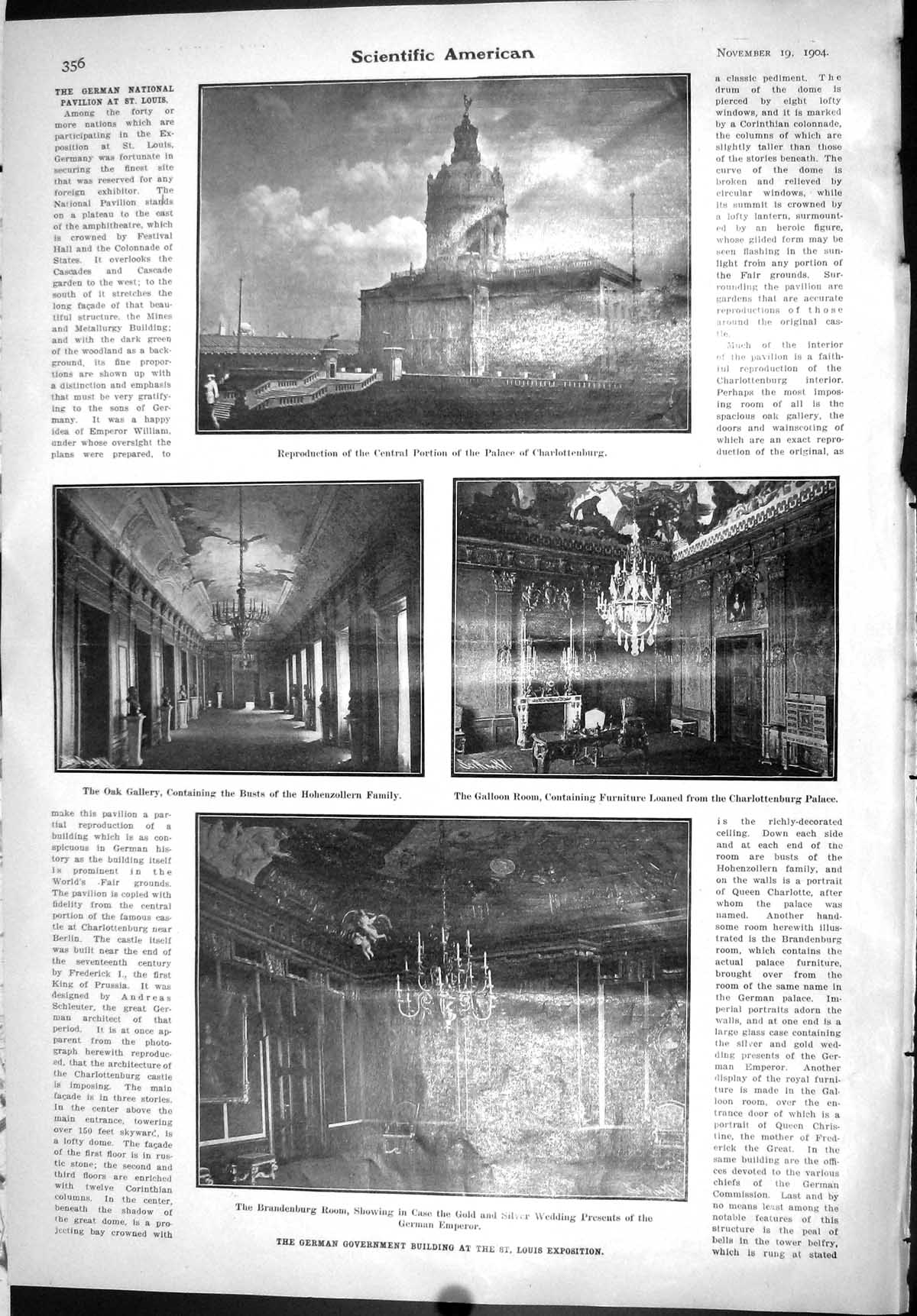 [Scientific American 1904 German Government Building Louis Palace 356J091 ]