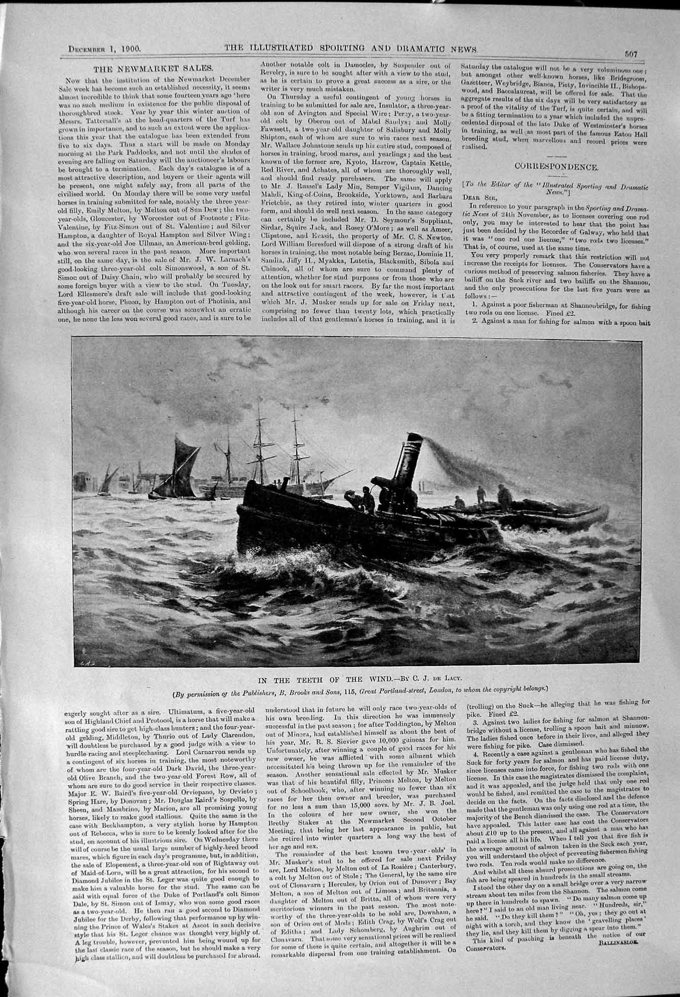 Original-Old-Antique-Print-1900-Teeth-Wind-Ship-Boat-Sailing-Lacy-Brooks-London