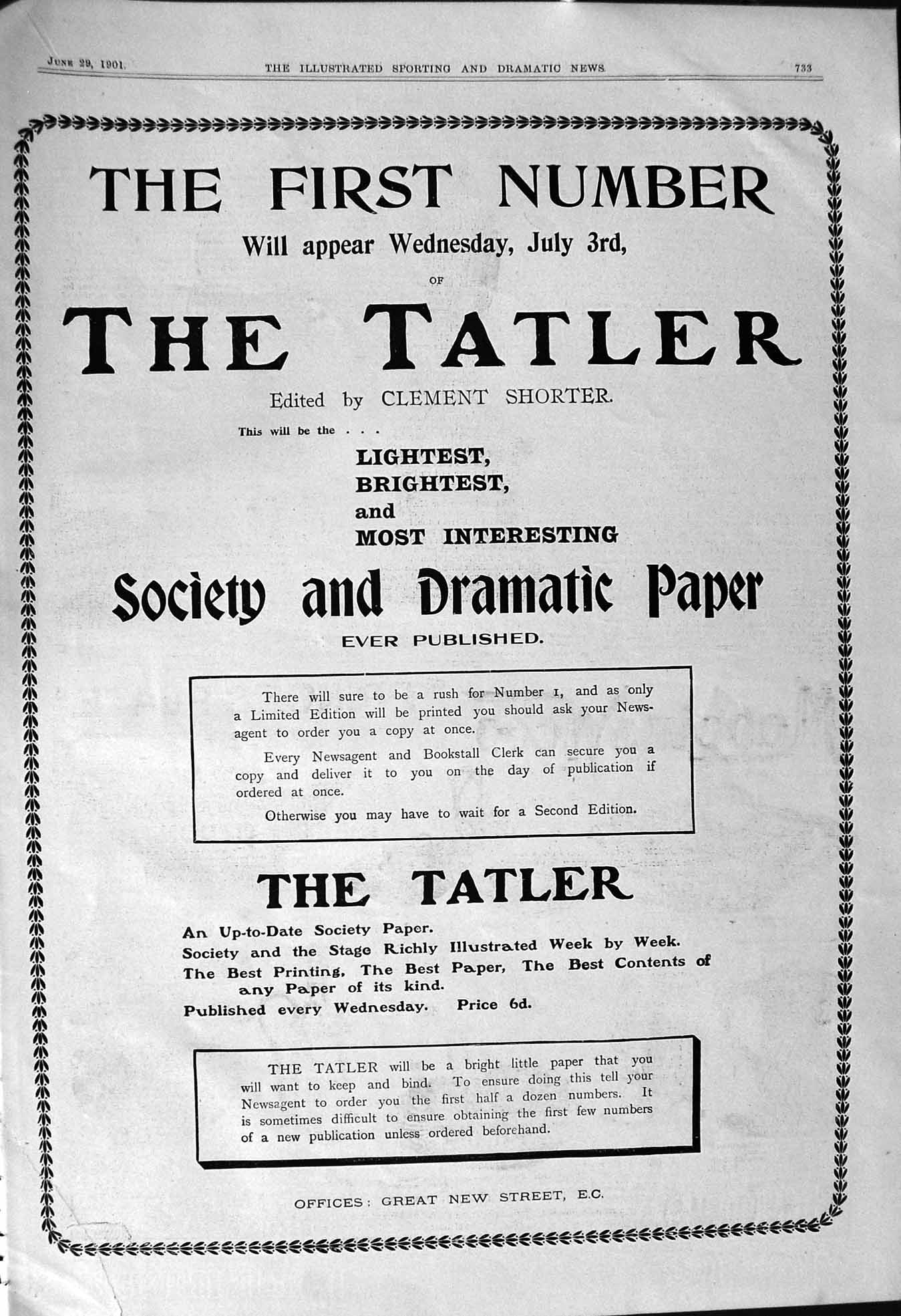 [Print 1901 Tatler Society Dramatic Paper Clement Shorter New Street 733J104 ]