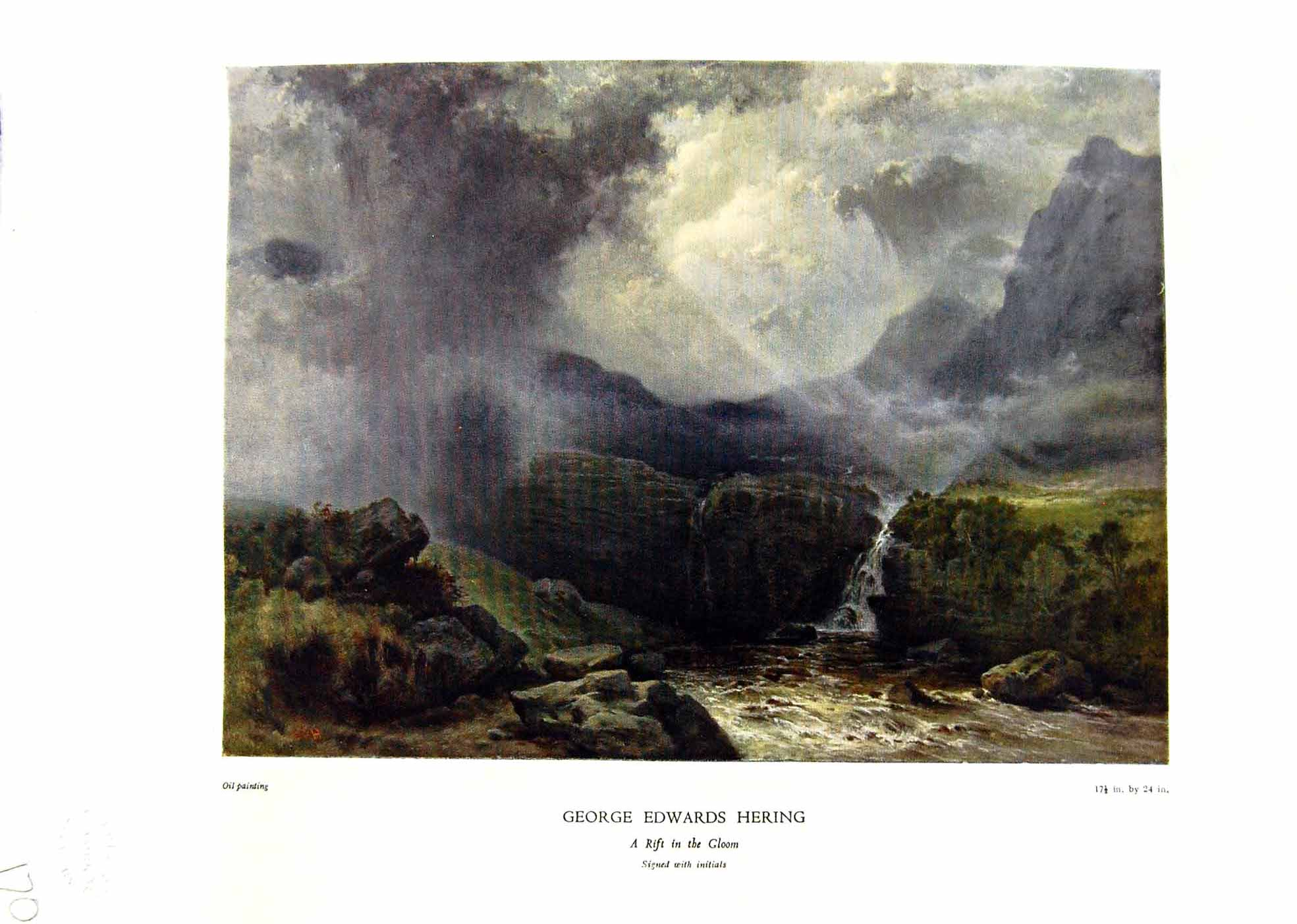 Antique-Print-NettlefGrundy-Oil-Painting-1935-Rift-Gloom-Stormy-Weathe-Rive