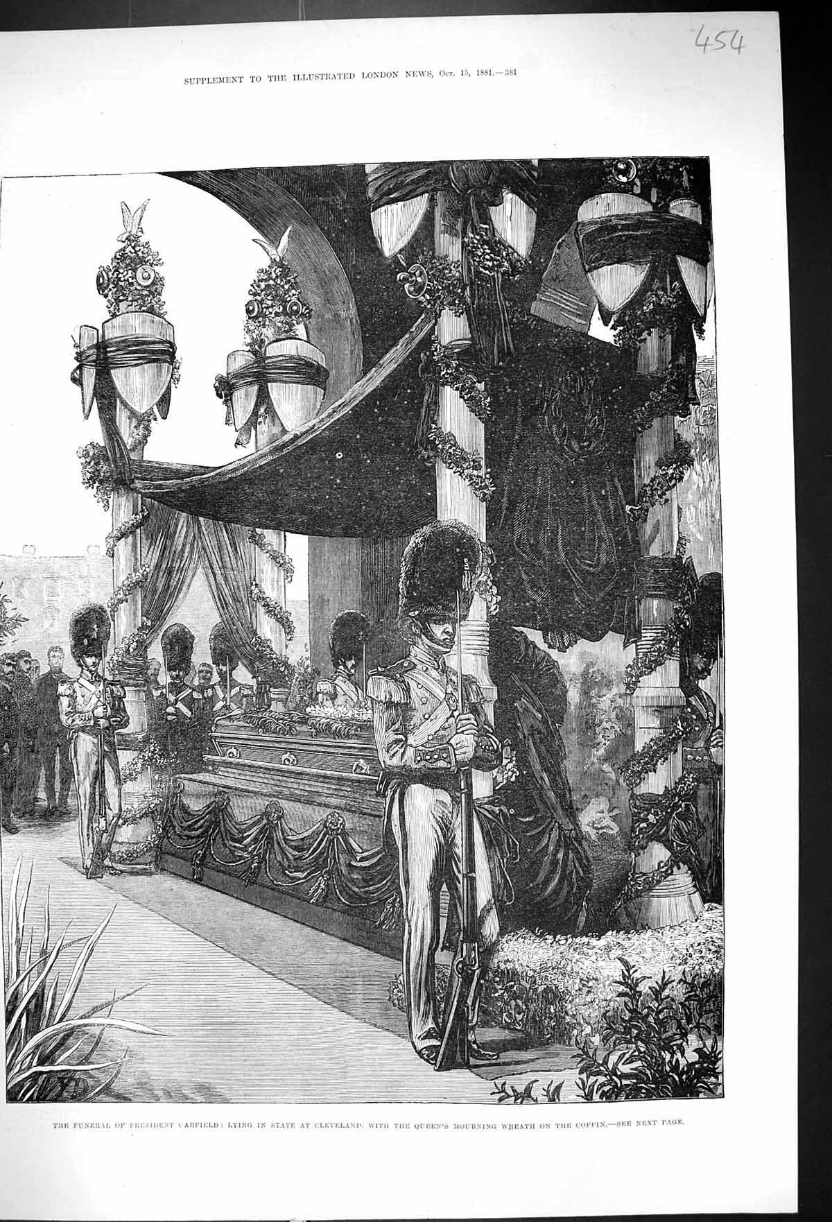 Old-1881-Funeral-President-Garfield-Lying-State-Cleveland-Queen-Wreat-Victorian