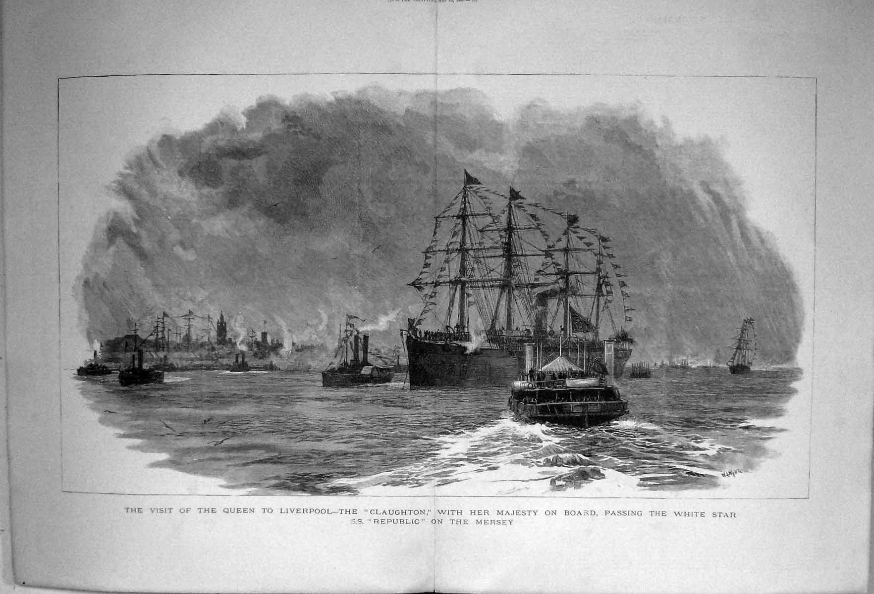 Old-1880-Queen-Visit-Liverpool-Ship-Claughton-Queen-White-Star-Republ-Victorian
