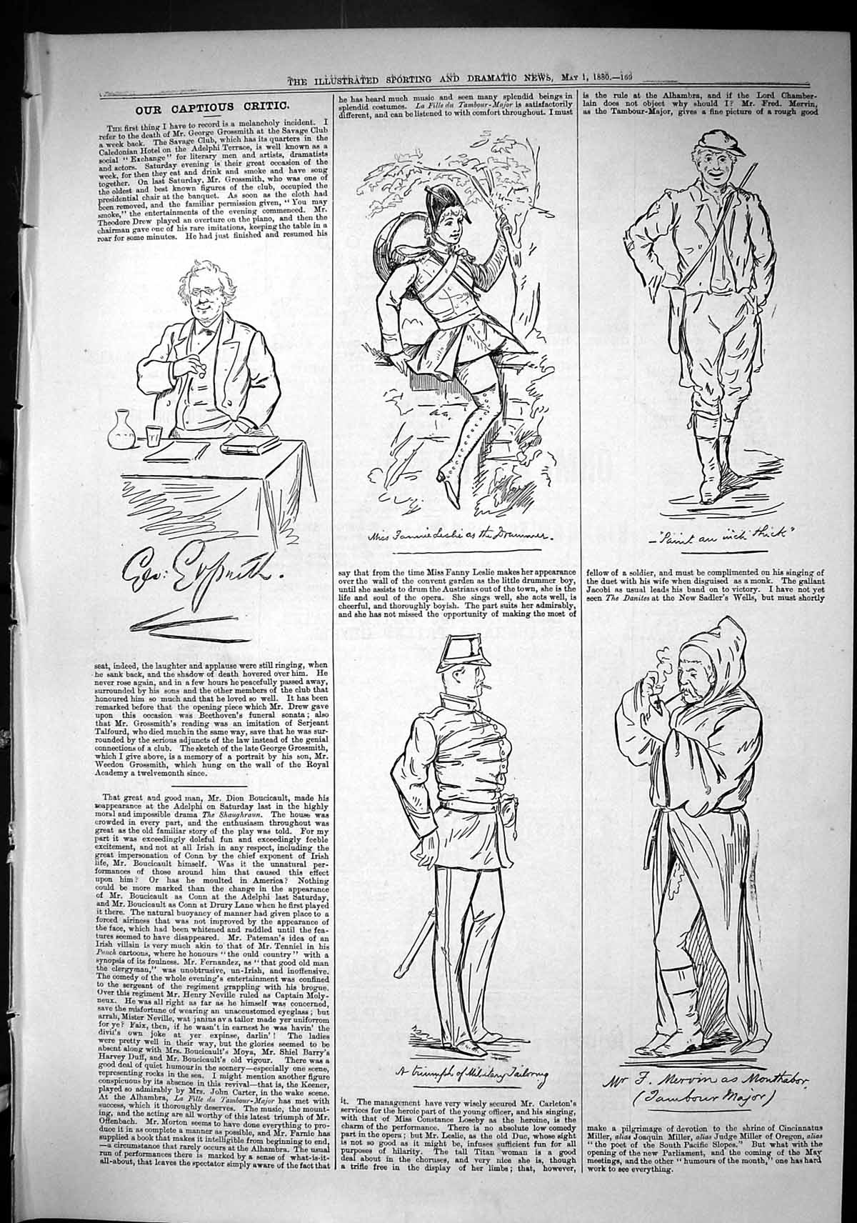 Old-Sporting-Dramatic-News-1880-Captious-Critic-Theatre-Military-Drum-Victorian