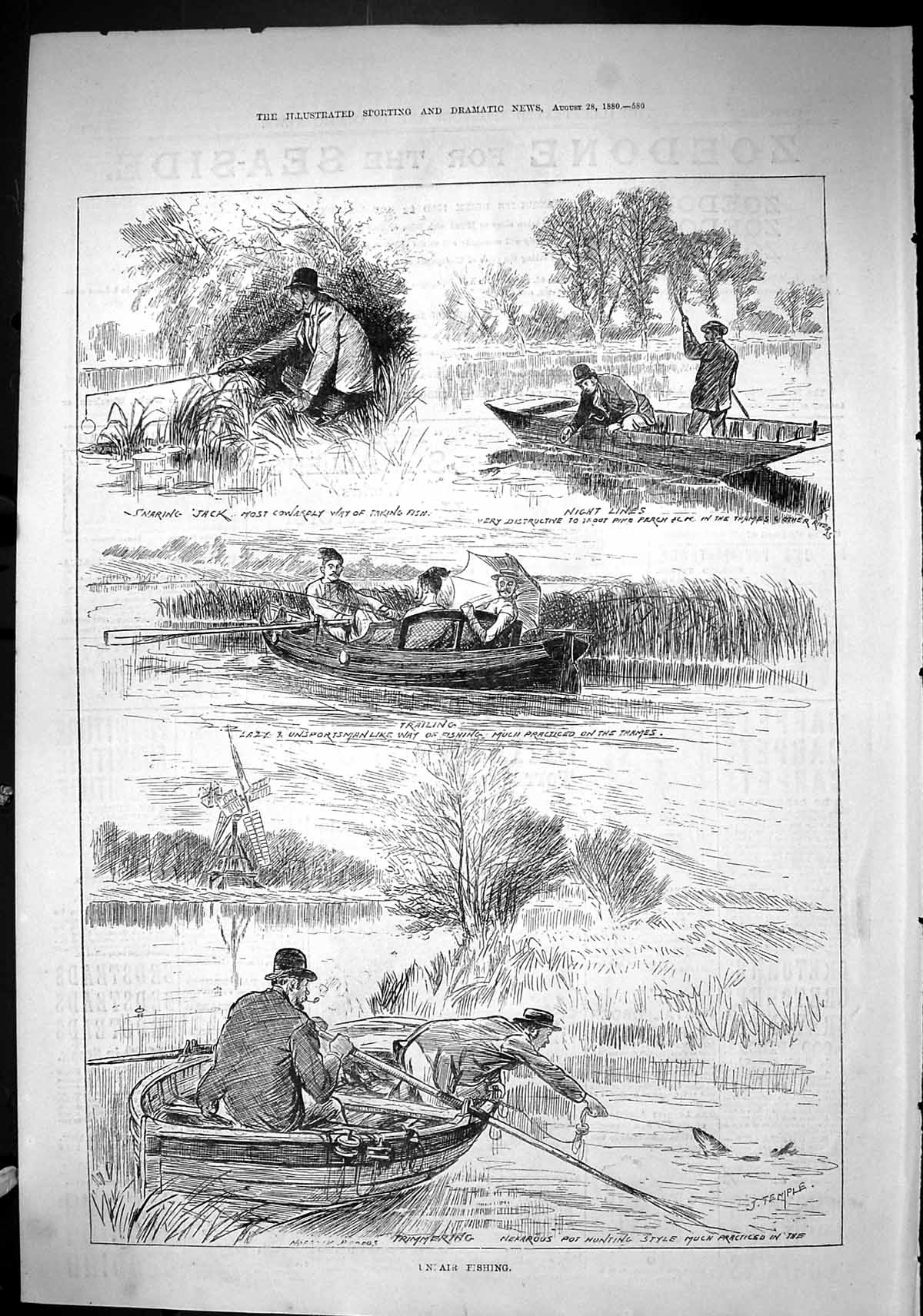 Old-Sporting-Dramatic-News-1880-Fishing-River-Boats-Trimmering-Thames-Victorian