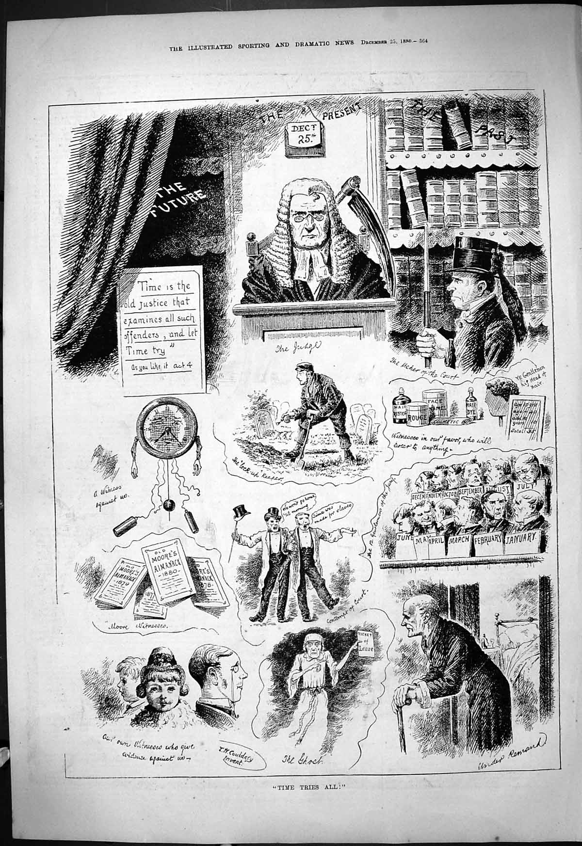 Original-Old-Antique-Print-1880-Time-Tries-All-Court-Judge-Comedy-Sketch-19th