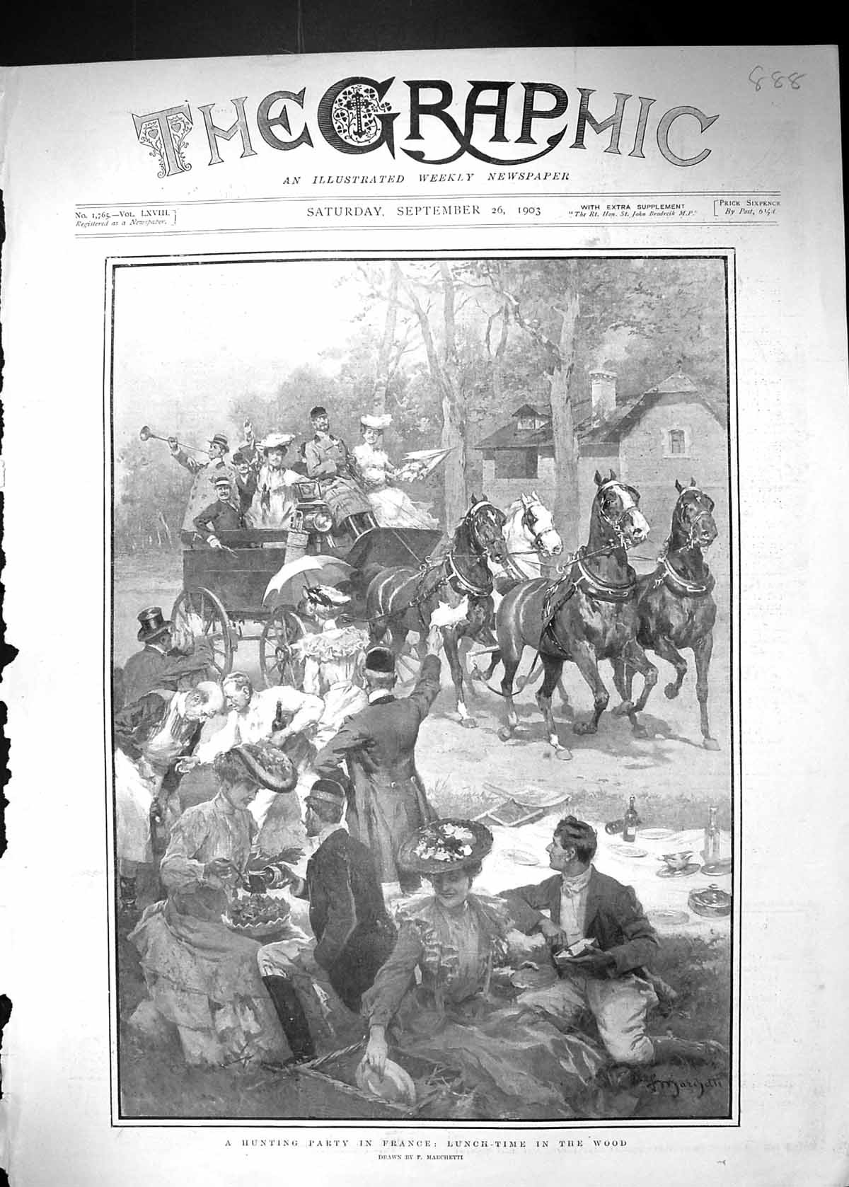 Original-Old-Antique-Print-1903-Hunting-Party-France-Lunch-Time-Wood-Marchetti