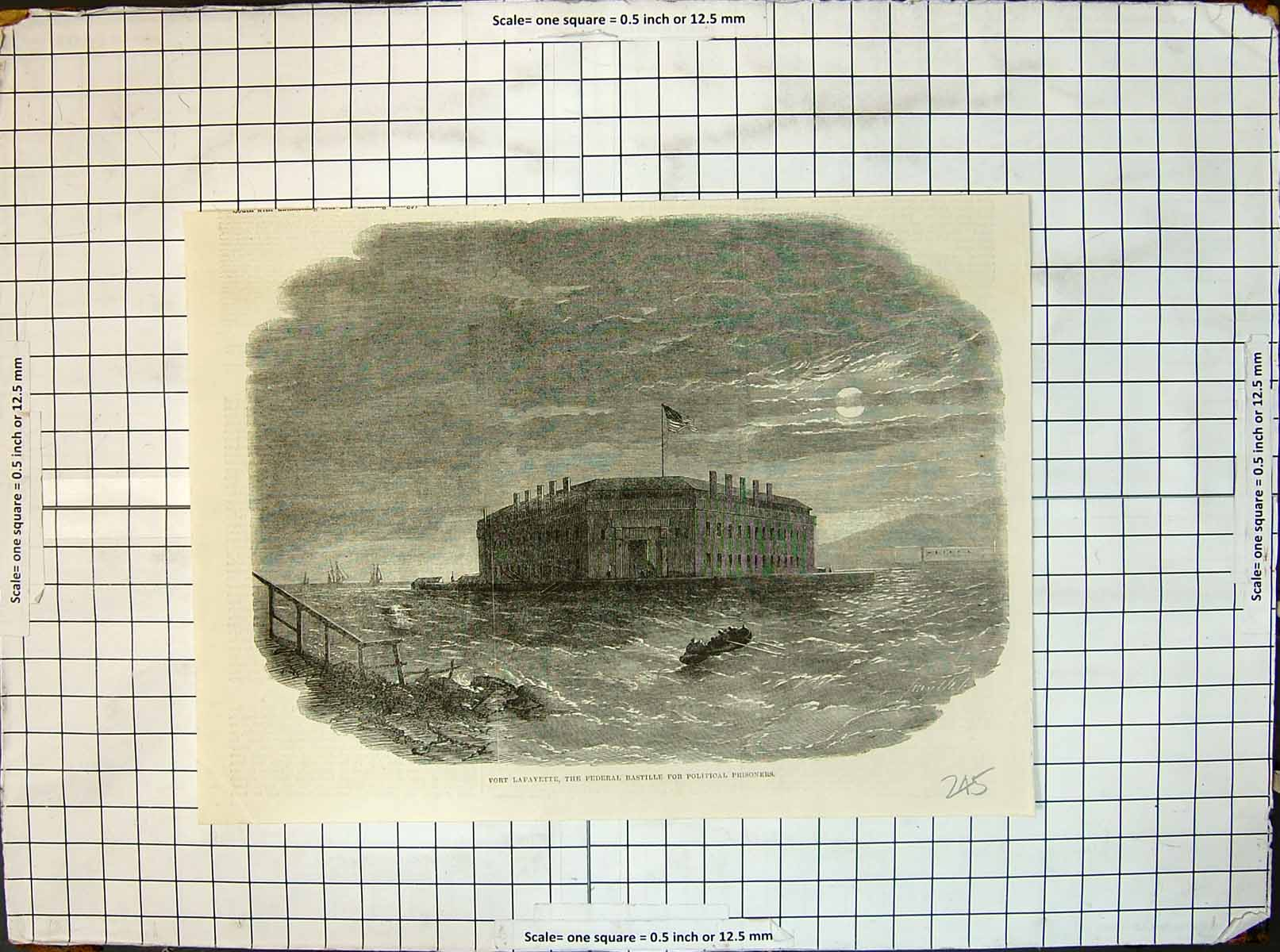 Original-Old-Antique-Print-Fort-Lafayette-Federal-Bastille-Political-Prisoners