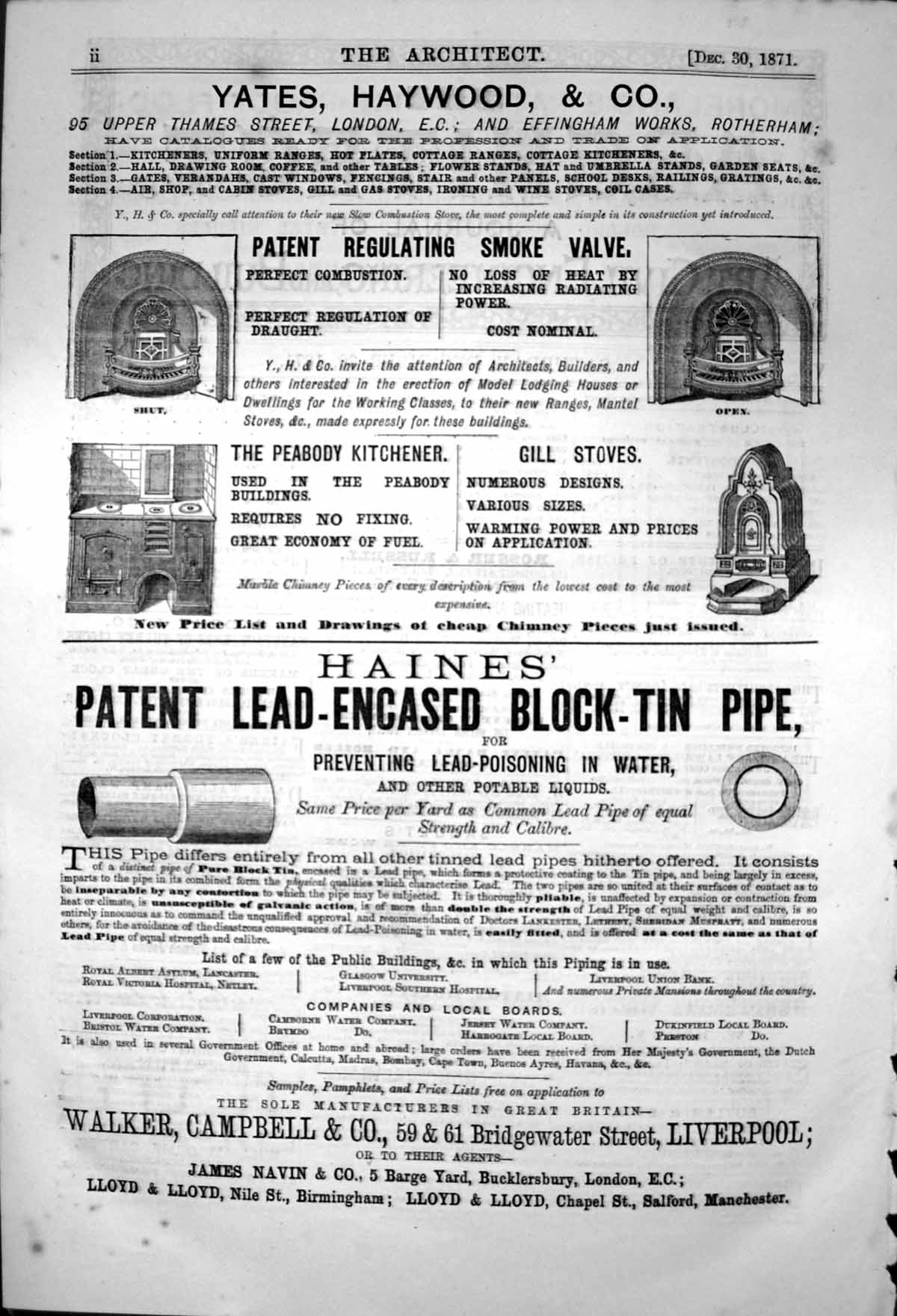 Old-Print-Haines-Lead-Cased-Block-Tin-Pipe-Yates-Haywood-amp-Co-Ranges-1871-19th