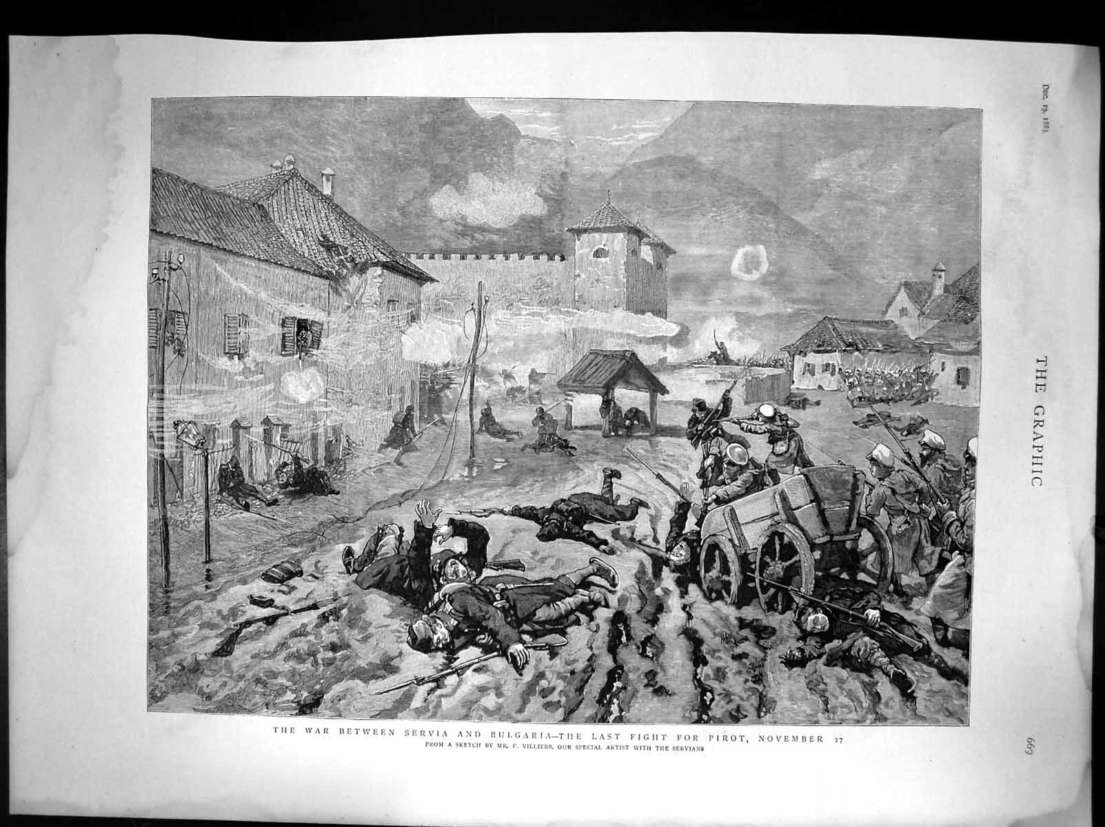Antique-Print-War-Between-Servia-And-Bulgaria-The-Last-Fight-The-Pirot-1885