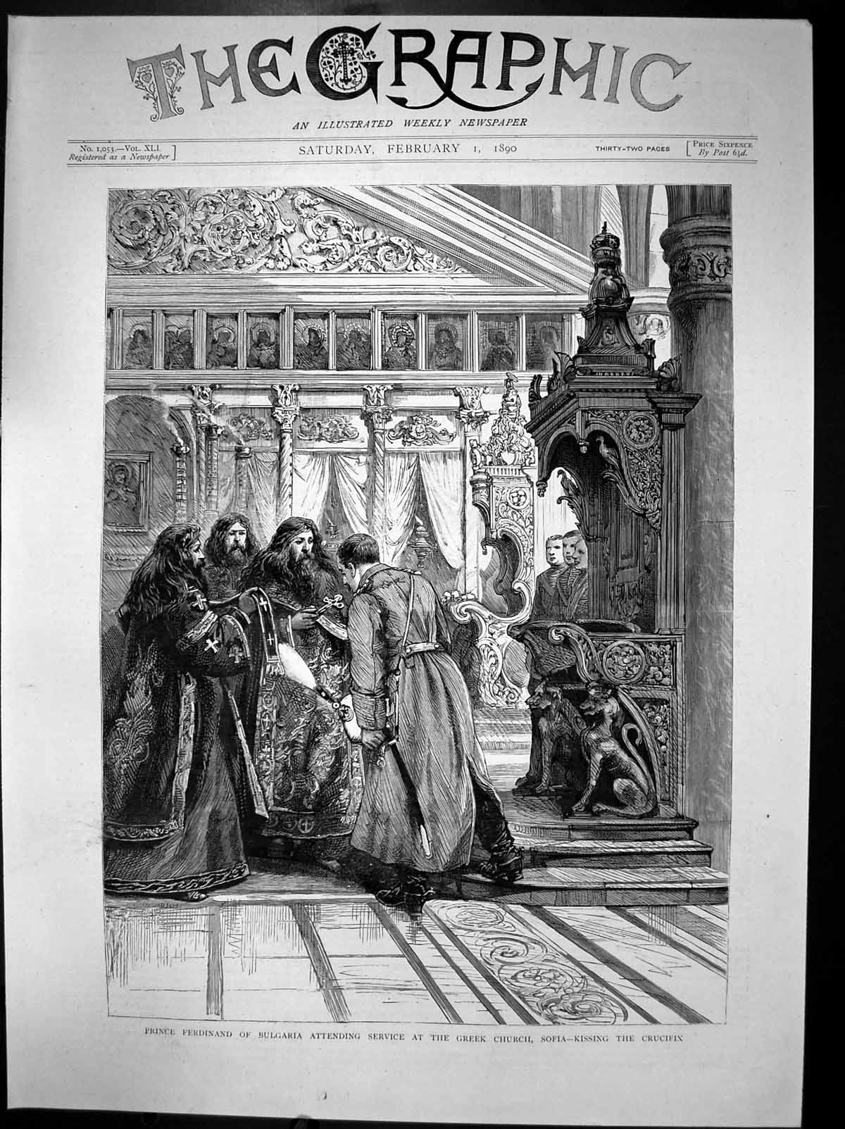 Old-Print-Prince-Ferdinand-Bulgaria-Attending-Greek-Church-In-Sofia-1890-19th