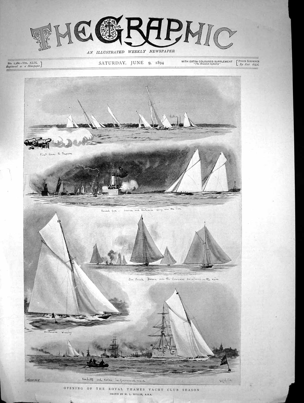 Old-1894-Opening-Royal-Thames-Yacht-Club-Vendetta-Carina-Doreen-Grave-Victorian