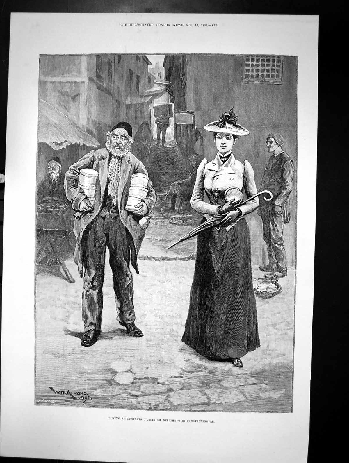 Antique-Old-Print-Buying-Sweethearts-Turkish-Delight-In-Constantinople-1891