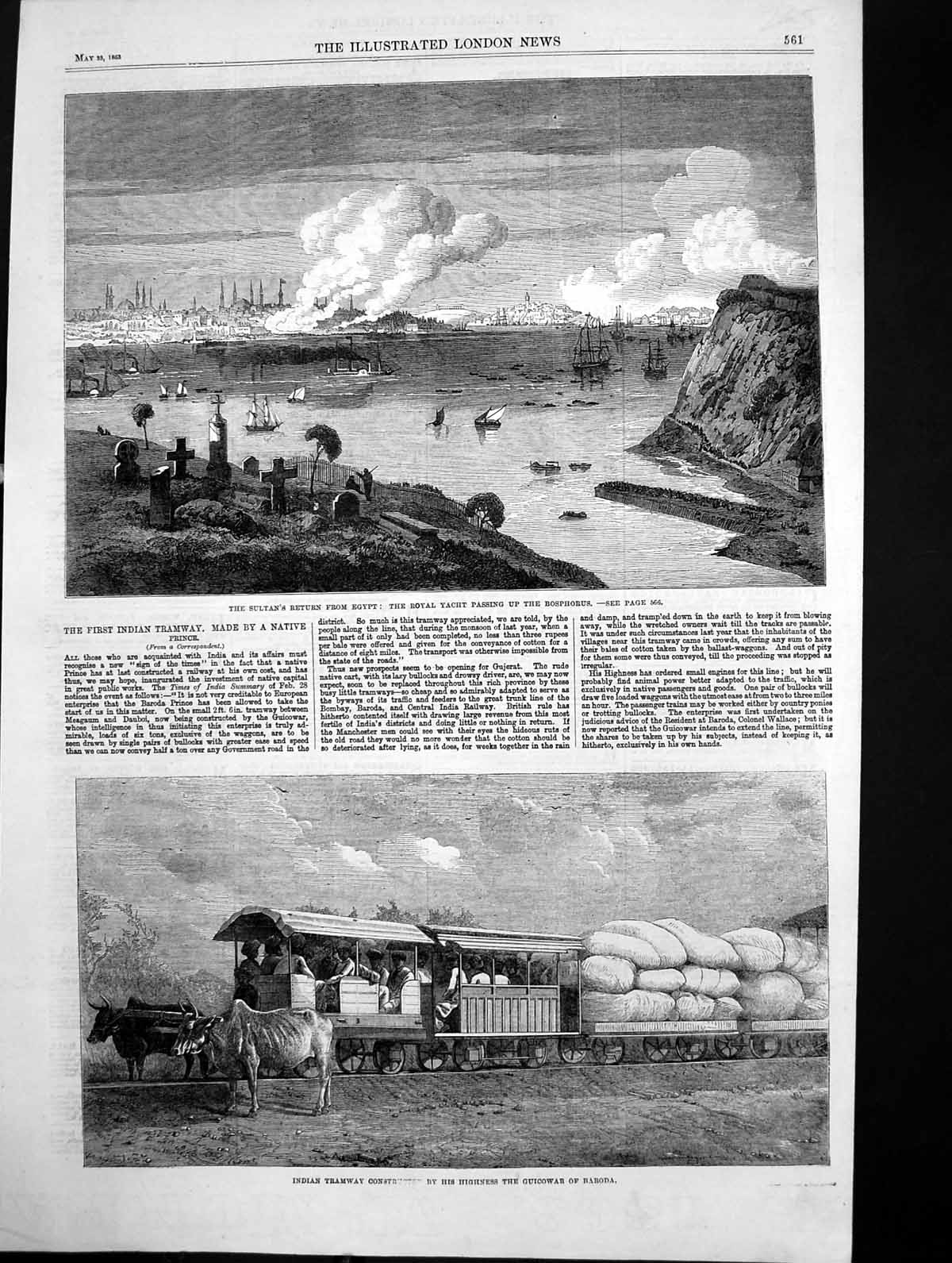 Antique-Old-Print-Indian-Tramway-Construction-Sultans-Yacht-Bosphorus-1863-19th