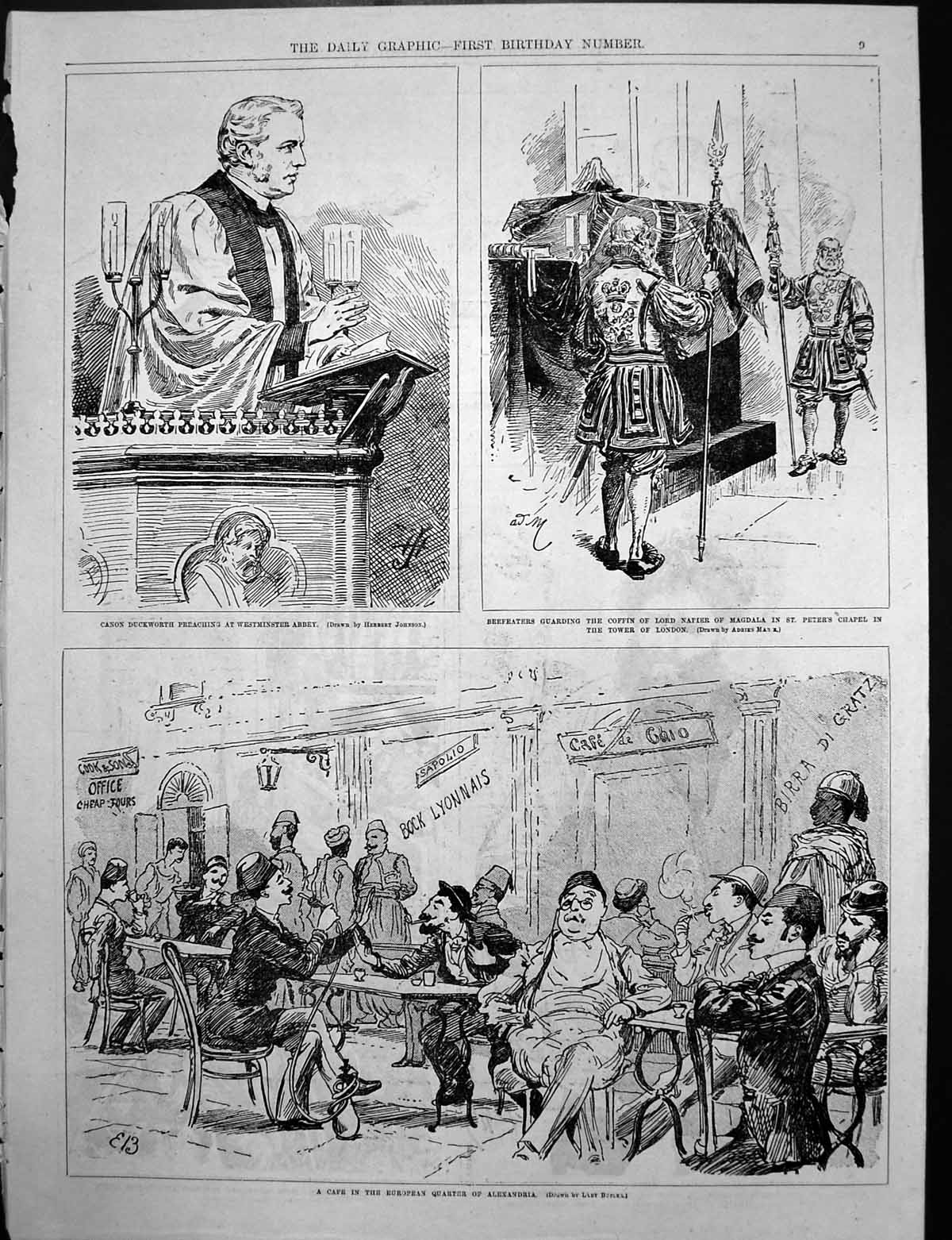 Antique-Old-Print-Canon-Preaching-Westminster-M-Thivrier-French-Chamber-C1890
